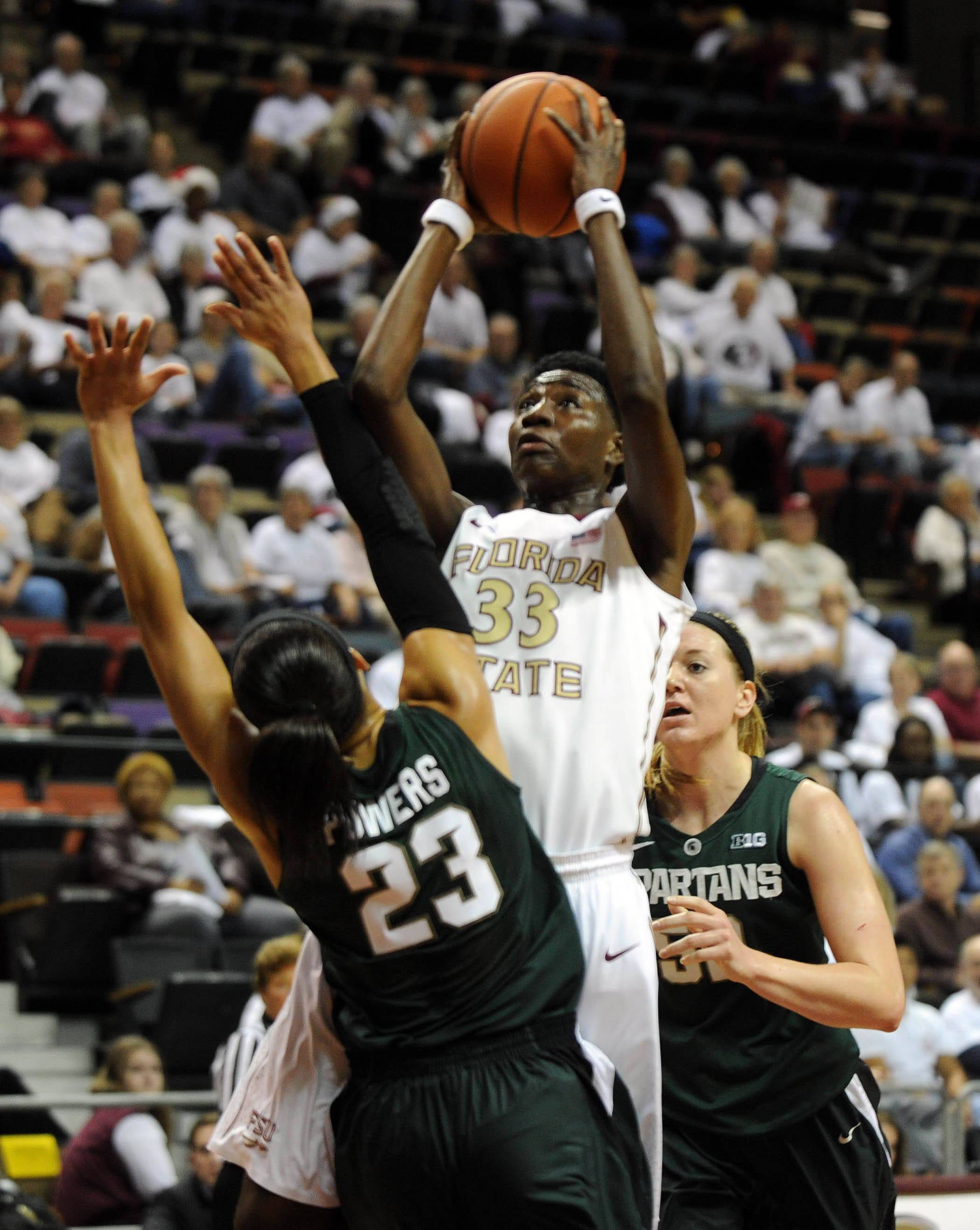 Dec 4, 2013; Tallahassee, FL, USA; Florida State Seminoles forward Natasha Howard (33) shoots over Michigan State Spartans guard Aerial Powers (23)  during the game at the Donald L. Tucker Center (Tallahassee). Mandatory Credit: Melina Vastola-USA TODAY Sports