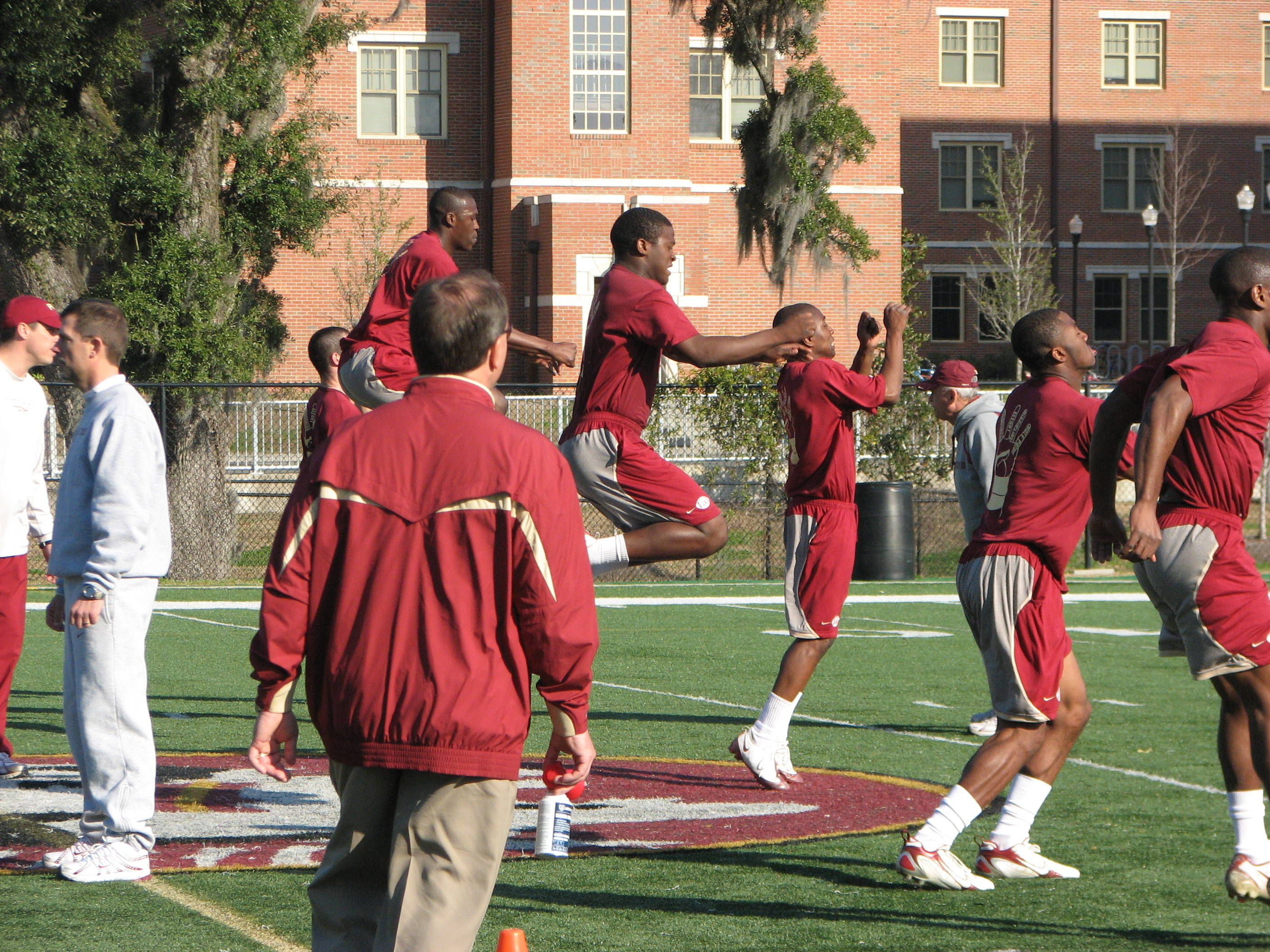 Head Coach Jimbo Fisher with players