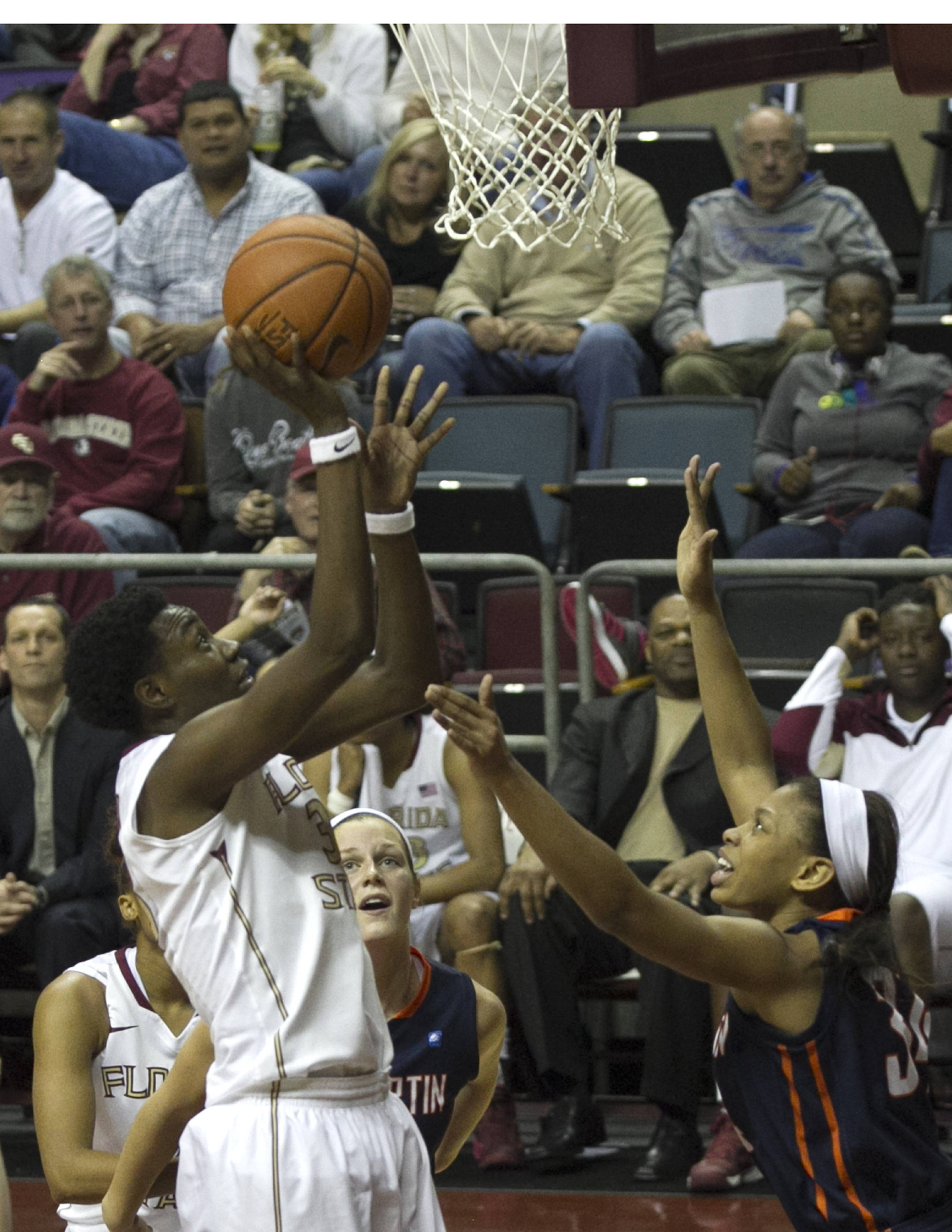 Natasha Howard (33) with a point-blank layup, FSU vs UT Martin, 12-28-13,  (Photo by Steve Musco)
