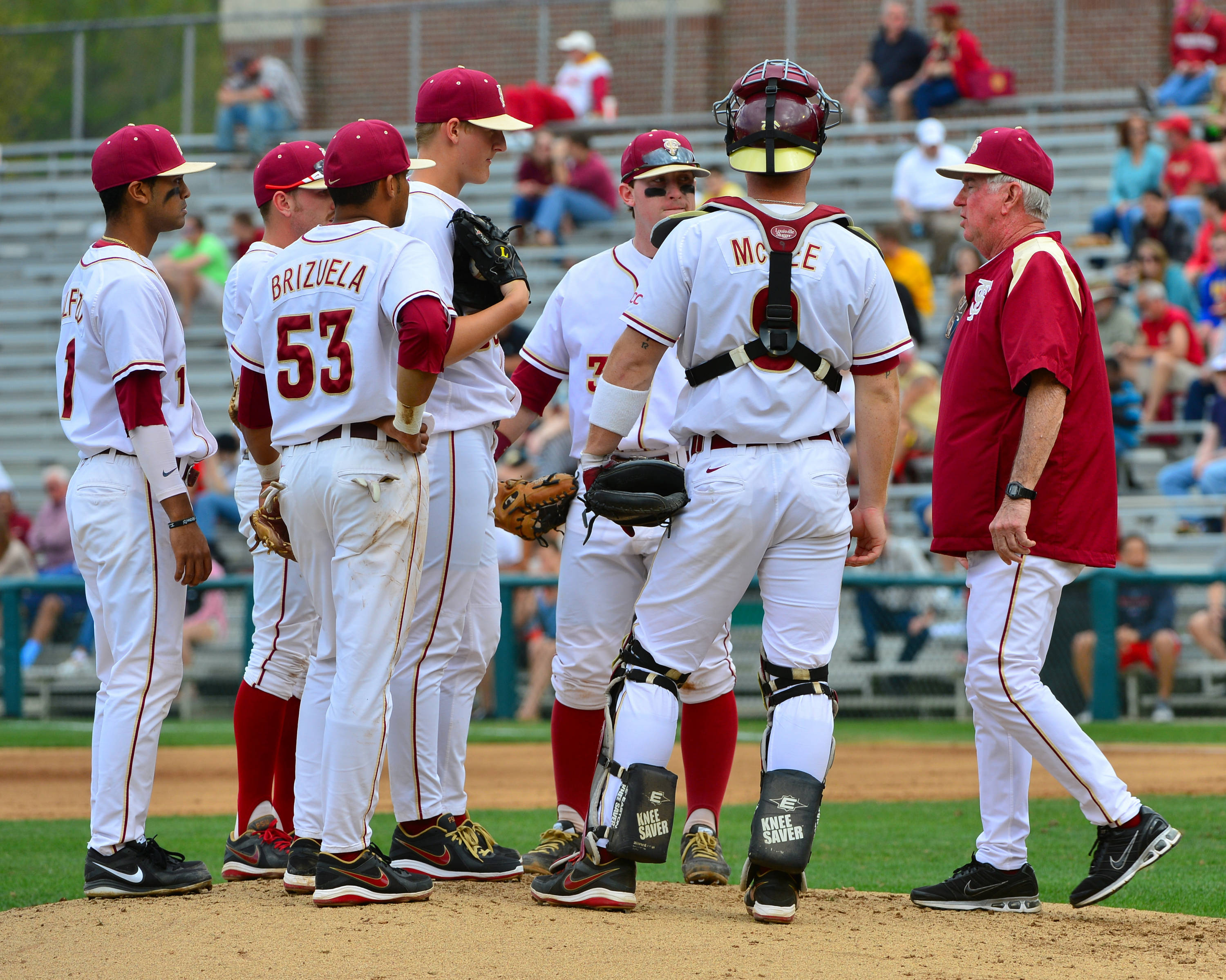 Head coach Mike Martin makes a visit to the mound.