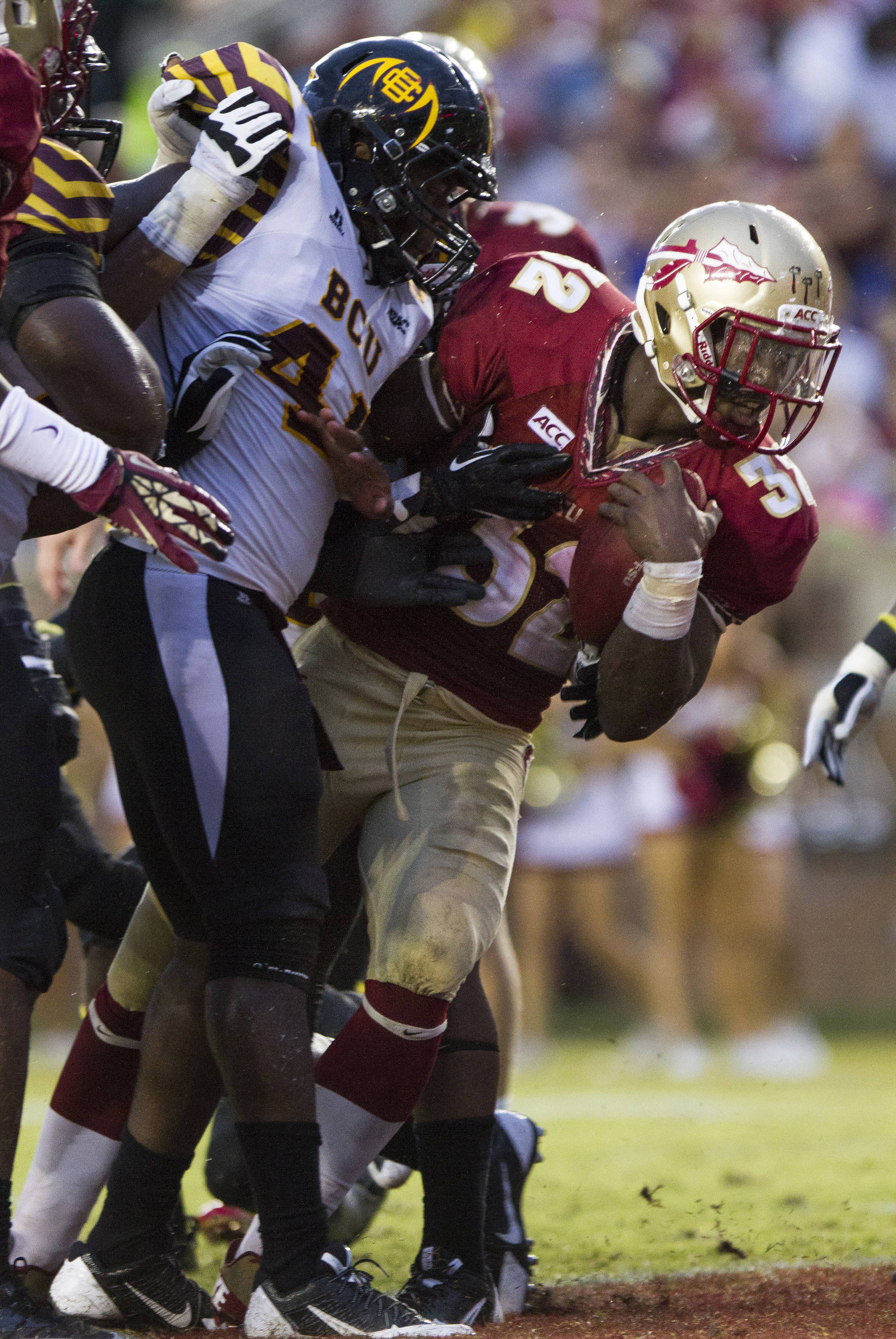James Wilder, Jr. (32) lunges in to the end zone during FSU Football's 54-6 win over Bethune-Cookman on September 21, 2013 in Tallahassee, Fla