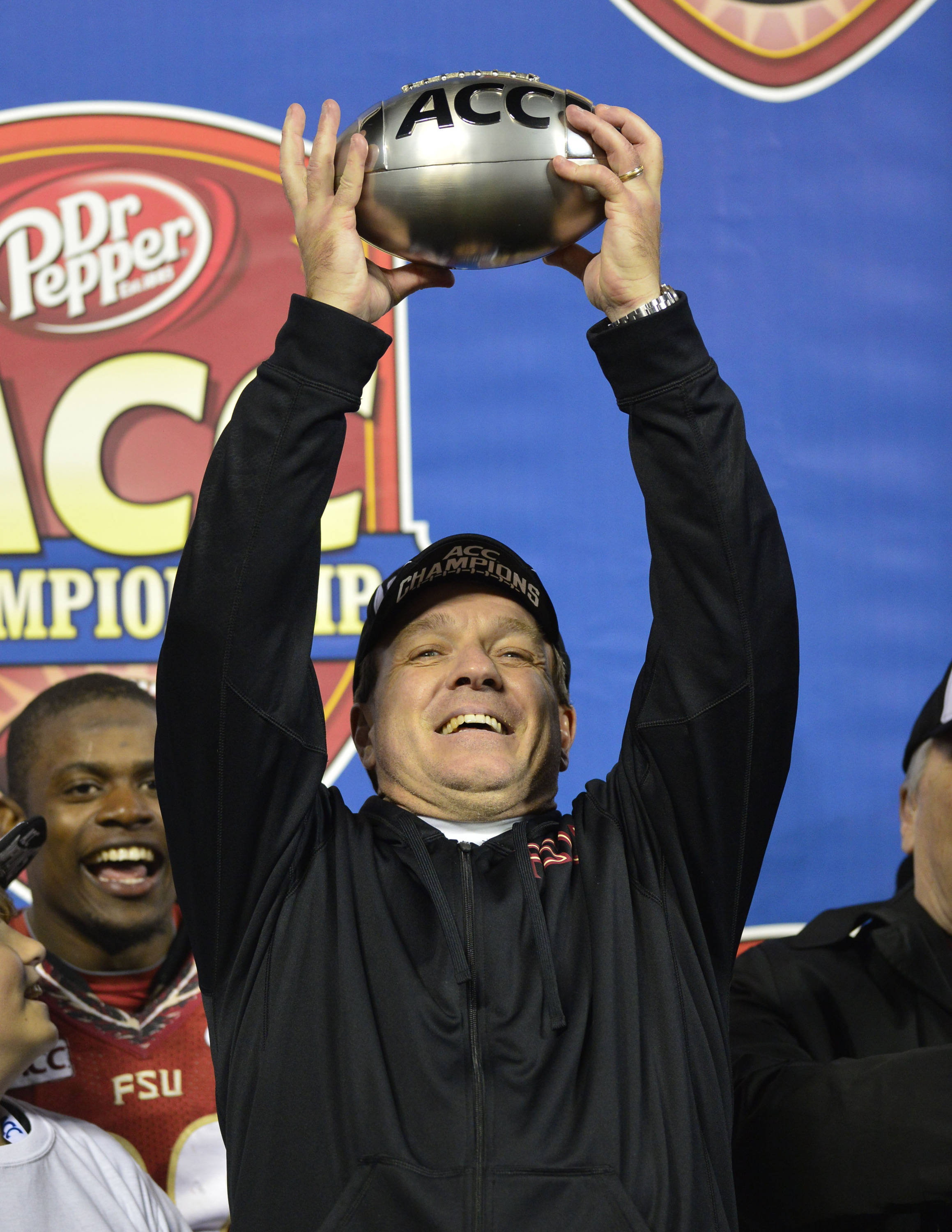 Dec 7, 2013; Charlotte, NC, USA; Florida State Seminoles head coach Jimbo Fisher holds up the ACC Championship trophy. The Seminoles defeated the Blue Devils 45-7 at Bank of America Stadium. Mandatory Credit: Bob Donnan-USA TODAY Sports