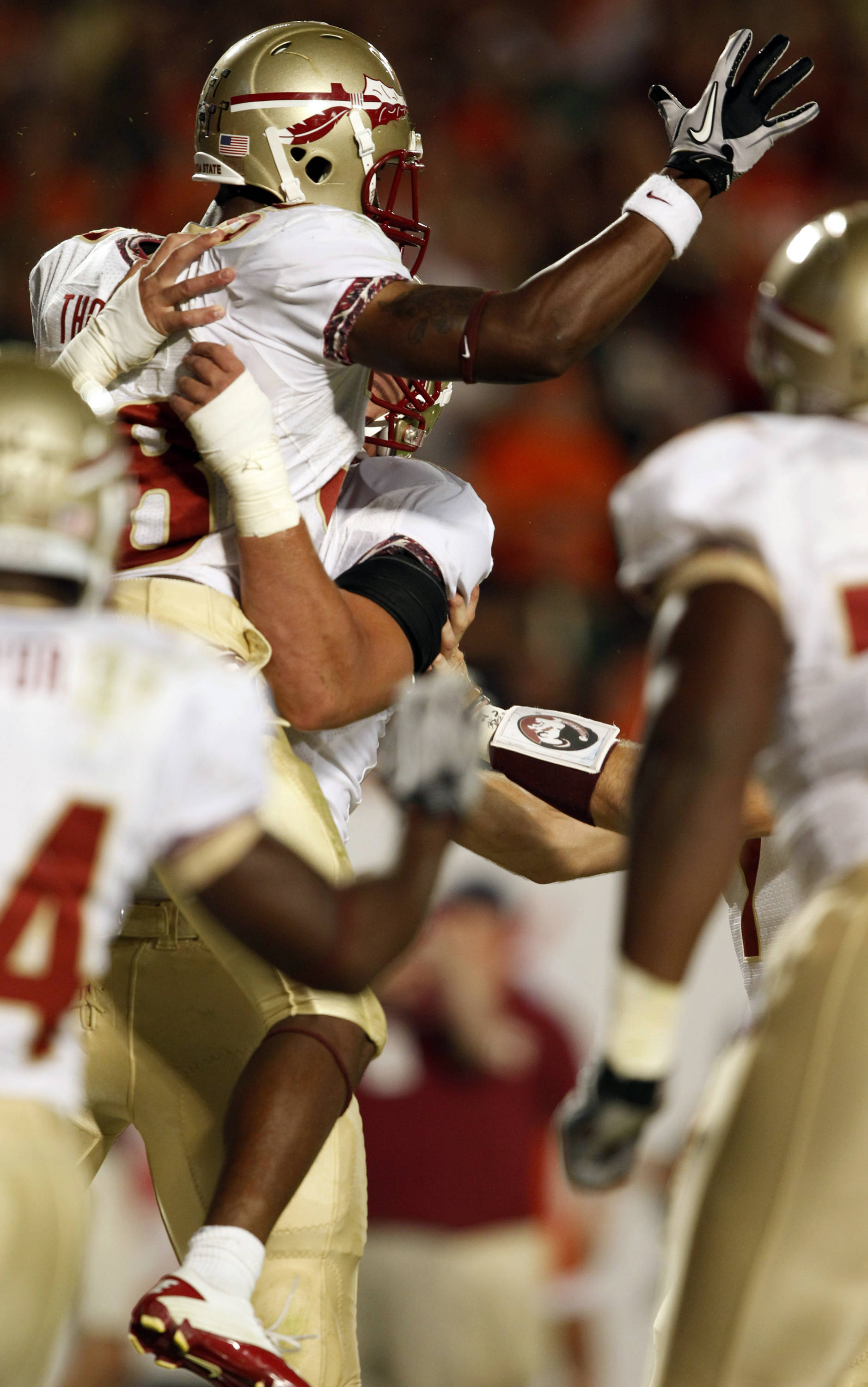 Florida State Seminoles running back Jermaine Thomas celebrates after scoring a touchdown.