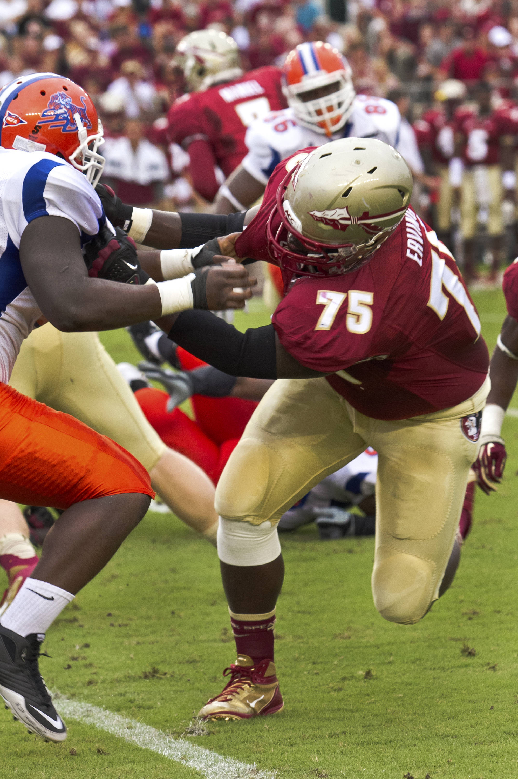Cameron Erving (75),  FSU vs Savannah State, 9/8/12 (Photo by Steve Musco)