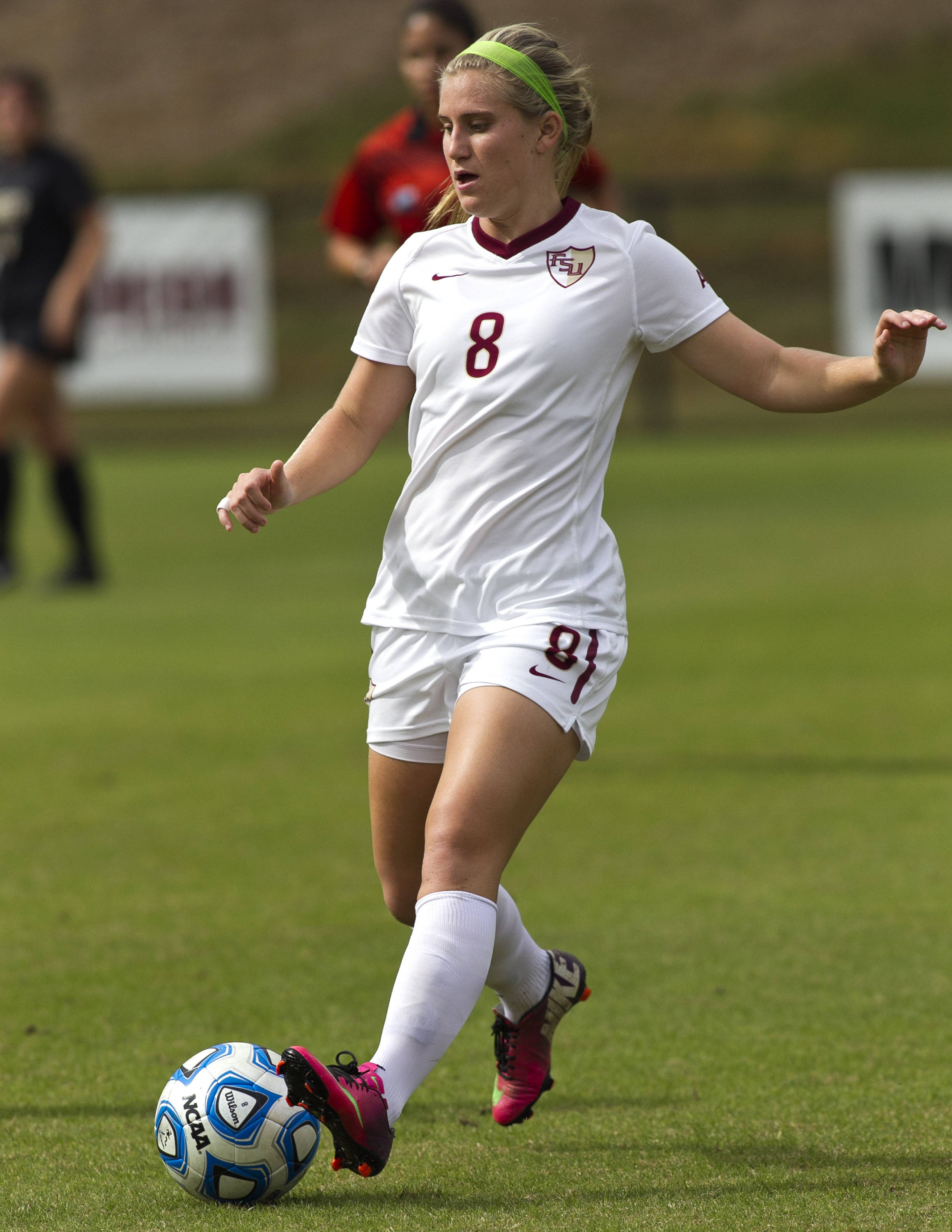 Michaela Hahn (8), FSU vs Colorado, 11-23-13, 3rd round NCAA Tournament (Photo by Steve Musco)