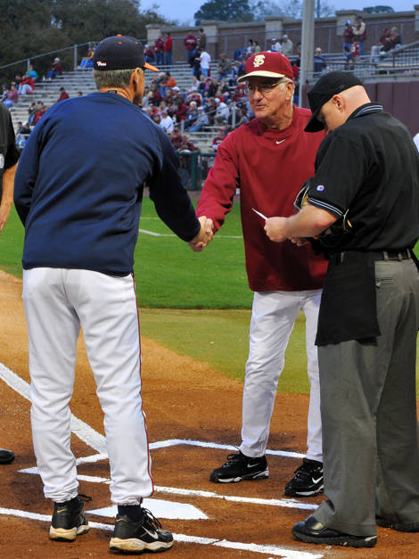 FSU head coach Mike Martin and UVA head coach Brian O'Connor shake hands at home plate before the start of Friday's game.