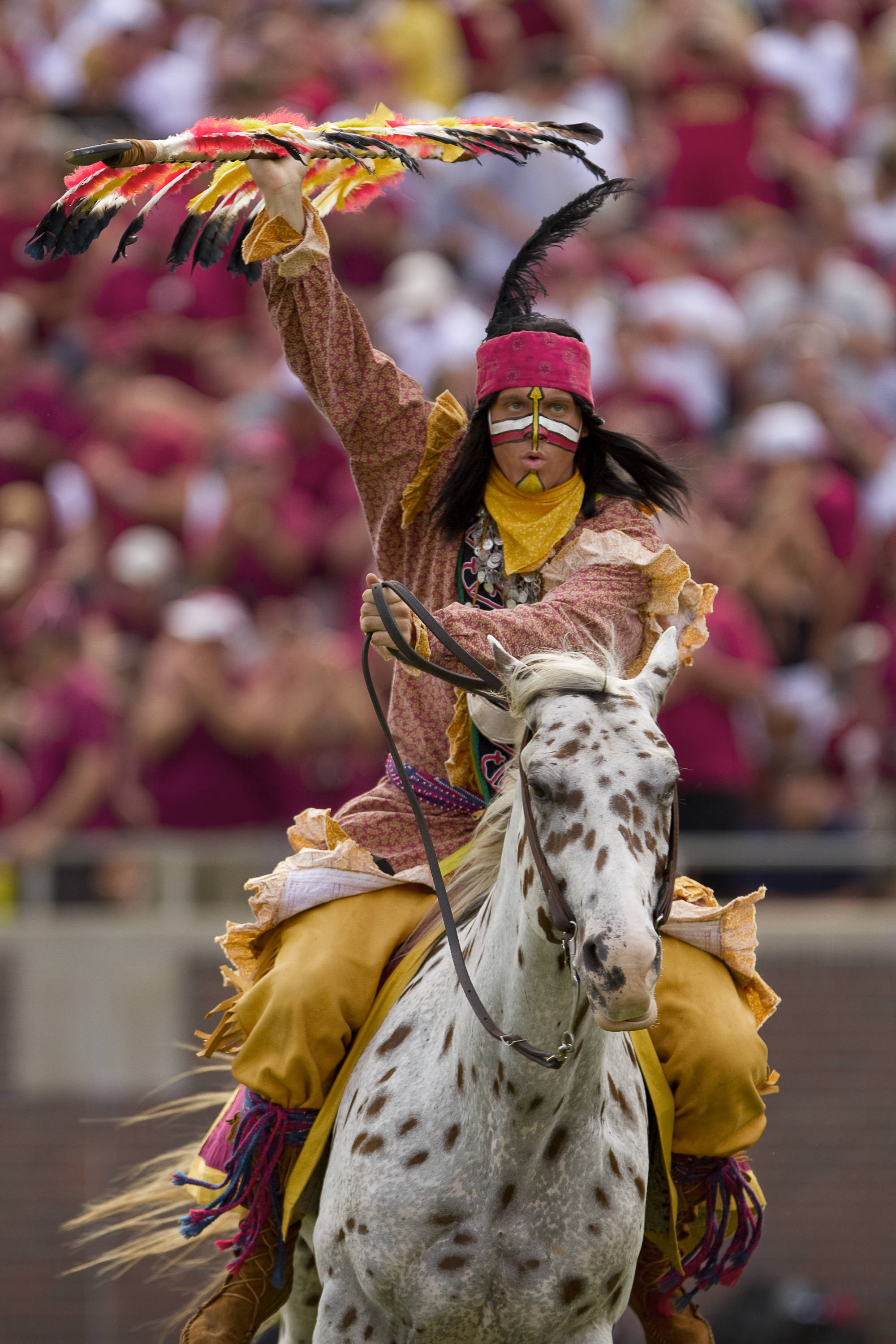 Chief Osceola pumps up fans during the first quarter of Saturday's Game.