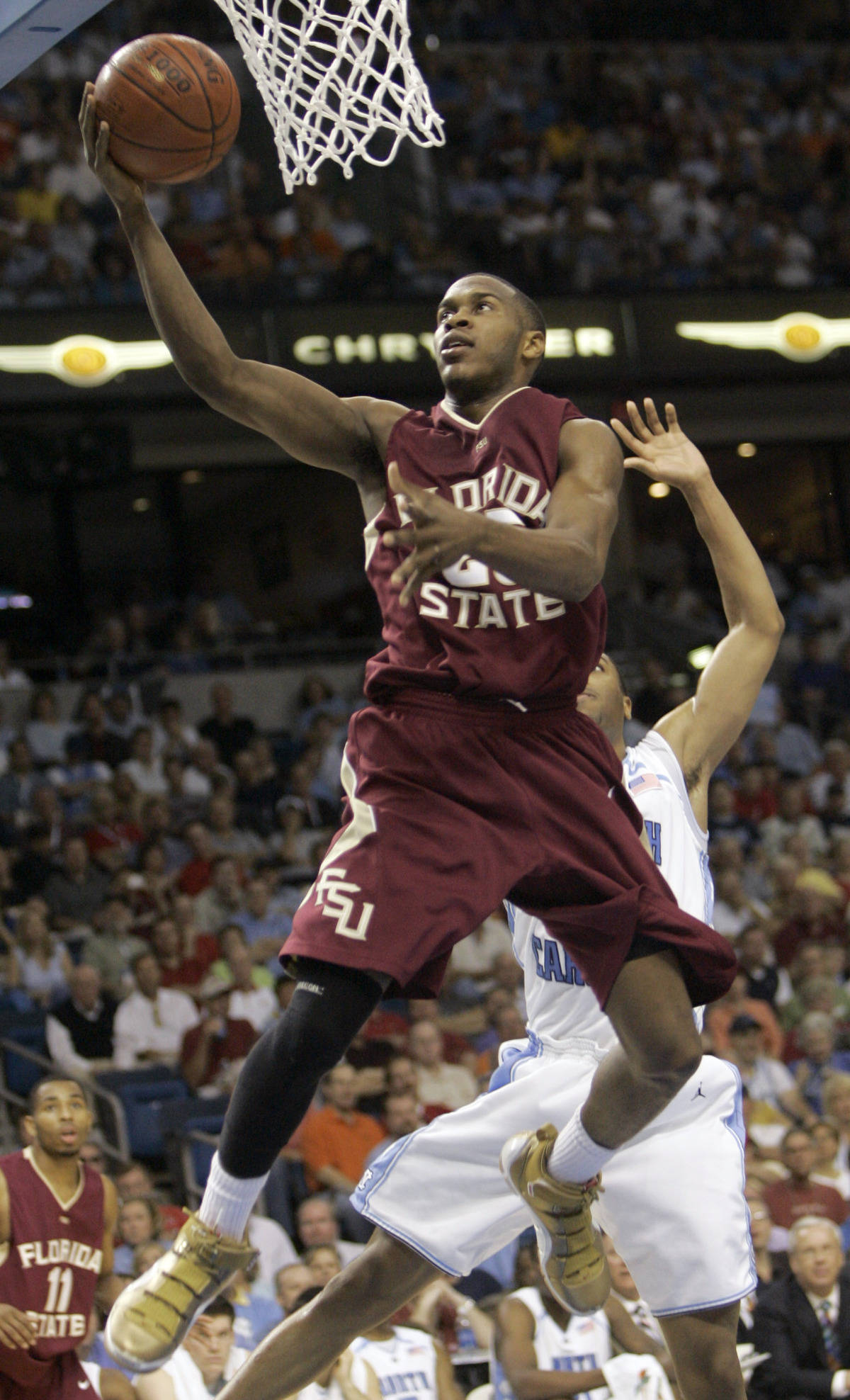 Florida State's Jason Rich leaps for a layup during a second round game of the Men's Atlantic Coast Conference basketball tournament against North Carolina in Tampa, Fla., Friday, March 9, 2007. (AP Photo/John Raoux)