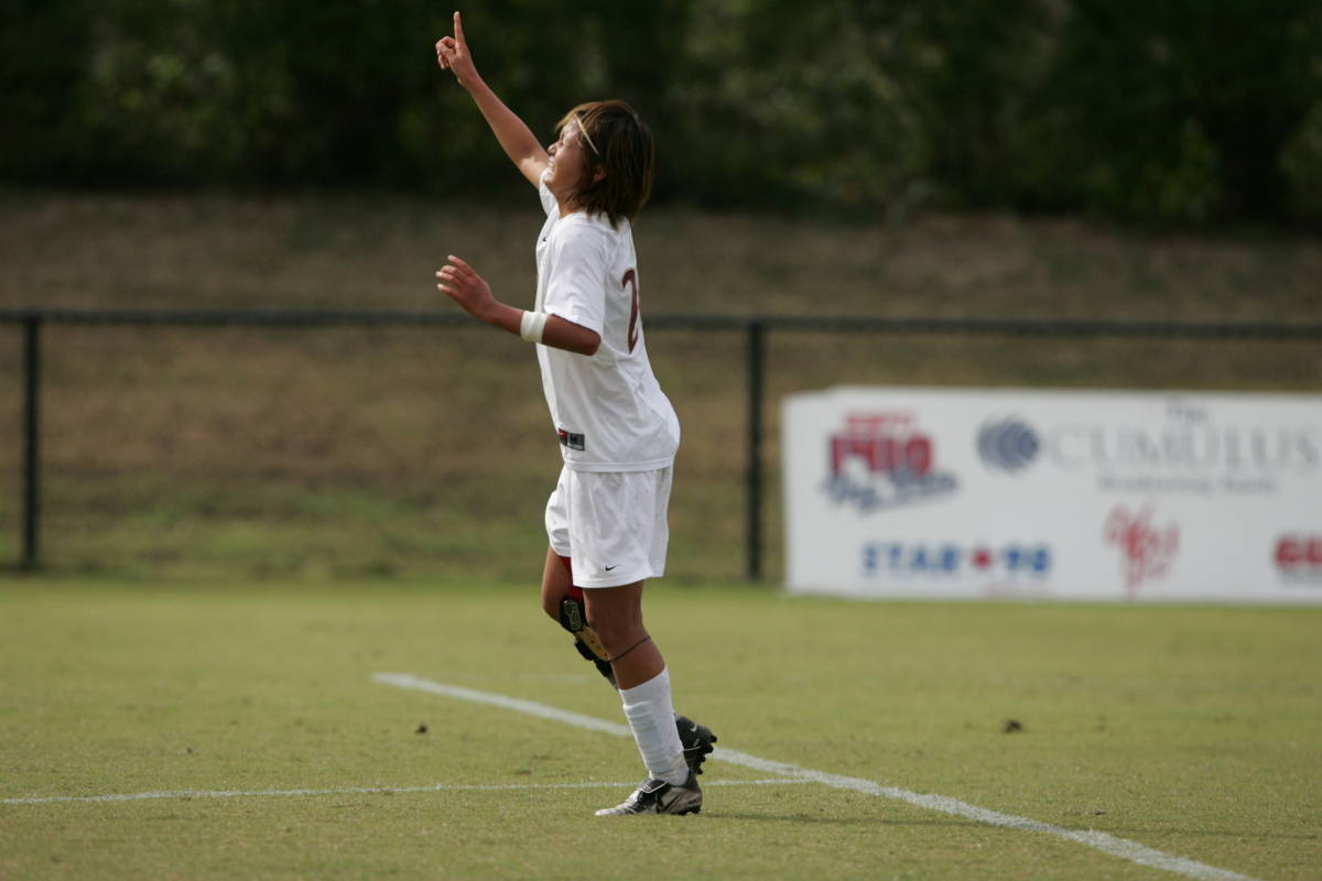 October 17, 2006: Mami Yamaguchi celebrates her golden goal versus Duke in#$%^Tallahassee last season. The third-ranked Seminoles will face No. 9 Wake#$%^Forest and No. 23 Duke on the road this weekend with just four regular#$%^season games remaining.