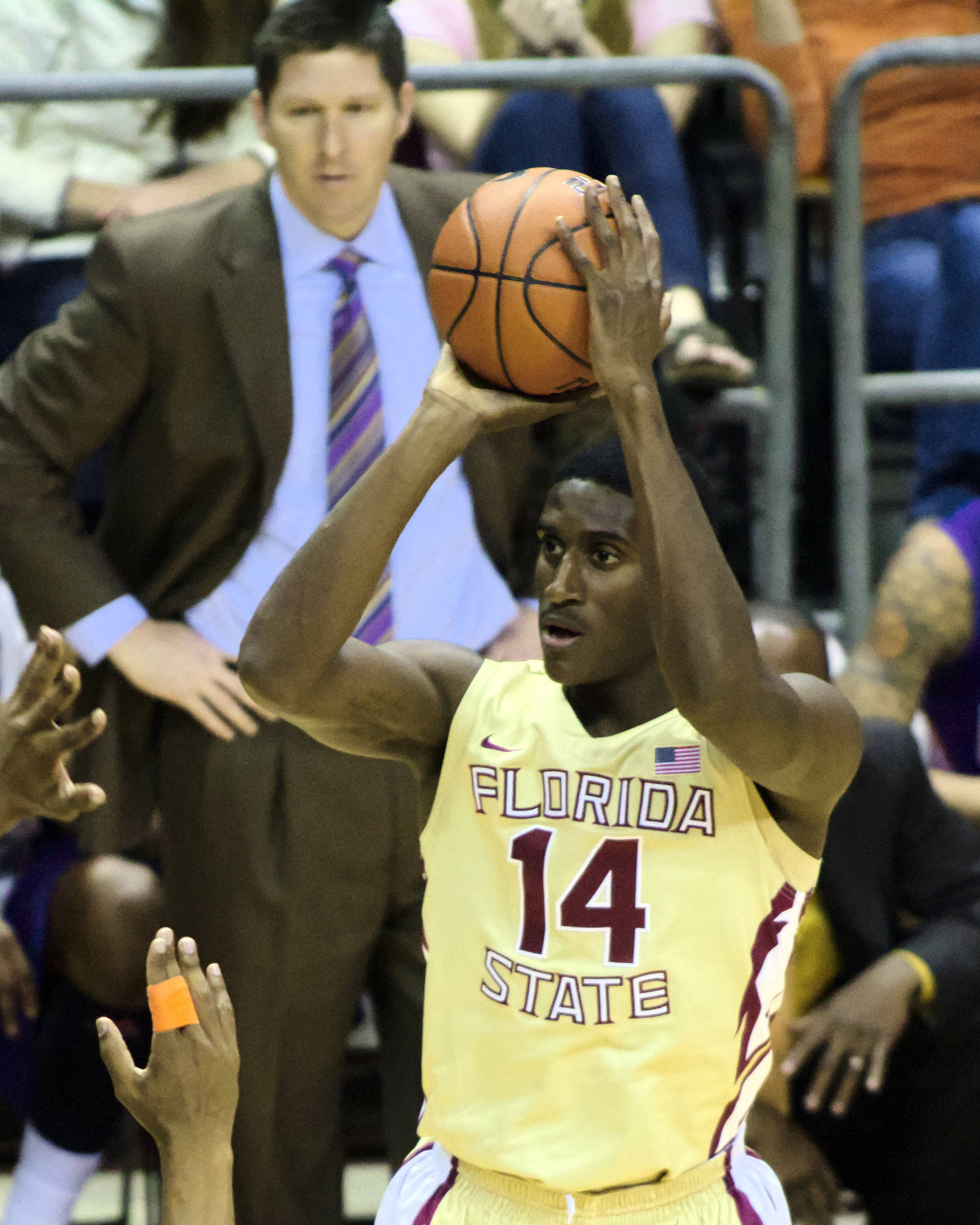 Robert Gilchrist (14), FSU vs Clemson, 01/24/13. (Photo by Steve Musco)