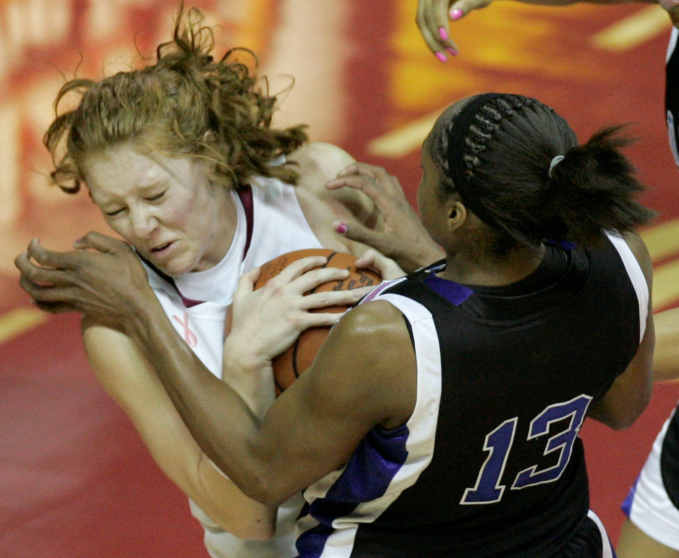Florida State's Mara Freshour, left, and Duke's Karima Christmas battle for a second-half rebound during an NCAA college basketball game, Thursday, Jan. 29, 2009, in Tallahassee, Fla. Florida State won in overtime 82-75. (AP Photo/Phil Coale)