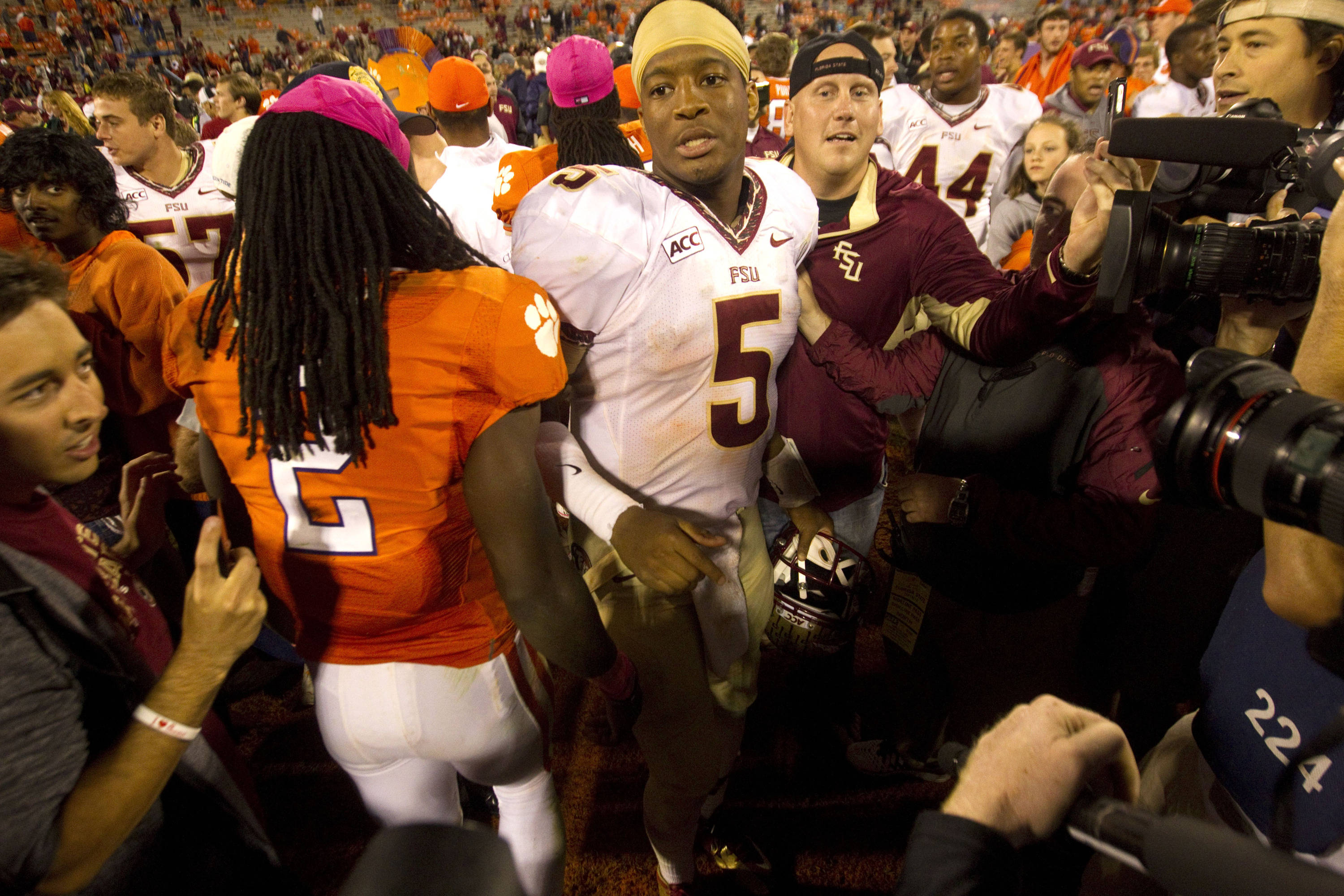 Florida State Seminoles quarterback Jameis Winston (5) celebrates with teammates following against the Clemson Tigers the game at Clemson Memorial Stadium. Seminoles won 51-14. (Joshua S. Kelly-USA TODAY Sports)