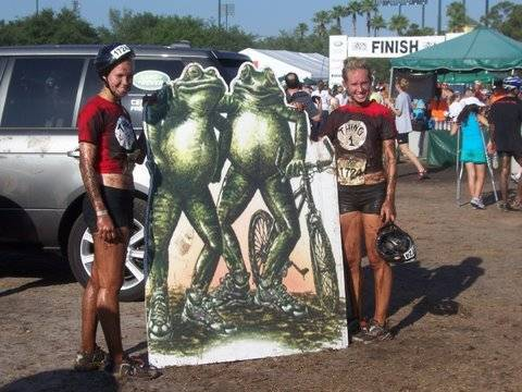 Ella (left) and sister Erica at the 2009 Muddy Buddy competition in Orlando, Fla.