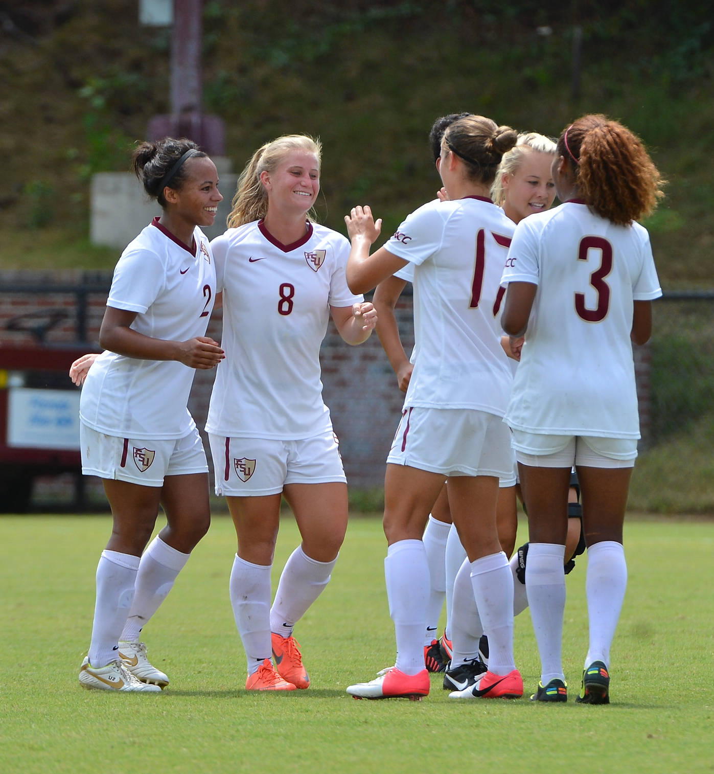 The Seminoles celebrate after Michaela Hahn scores her first career goal.
