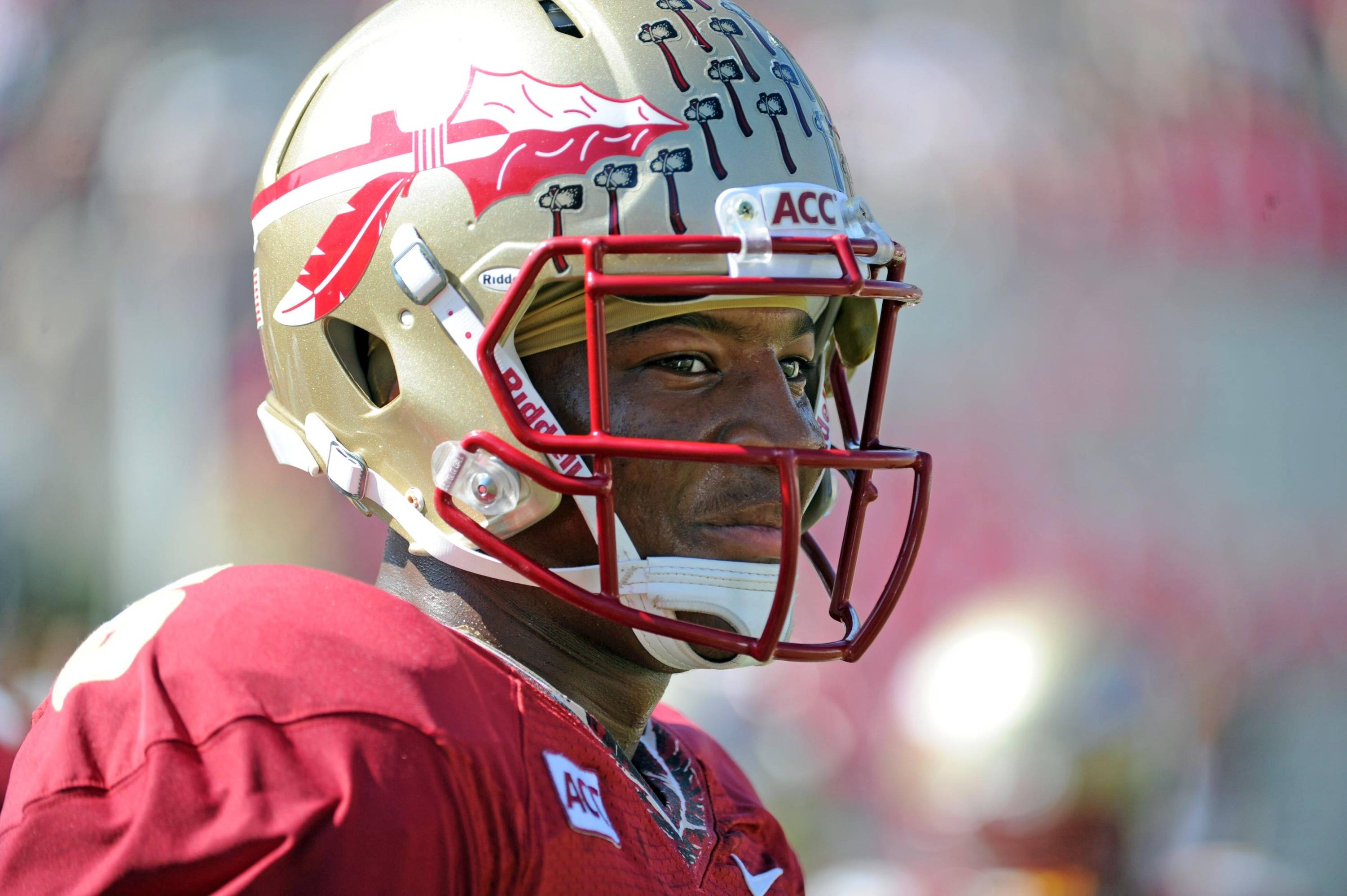 Seminoles quarterback Jameis Winston (5) warms up. Mandatory Credit: Melina Vastola-USA TODAY Sports