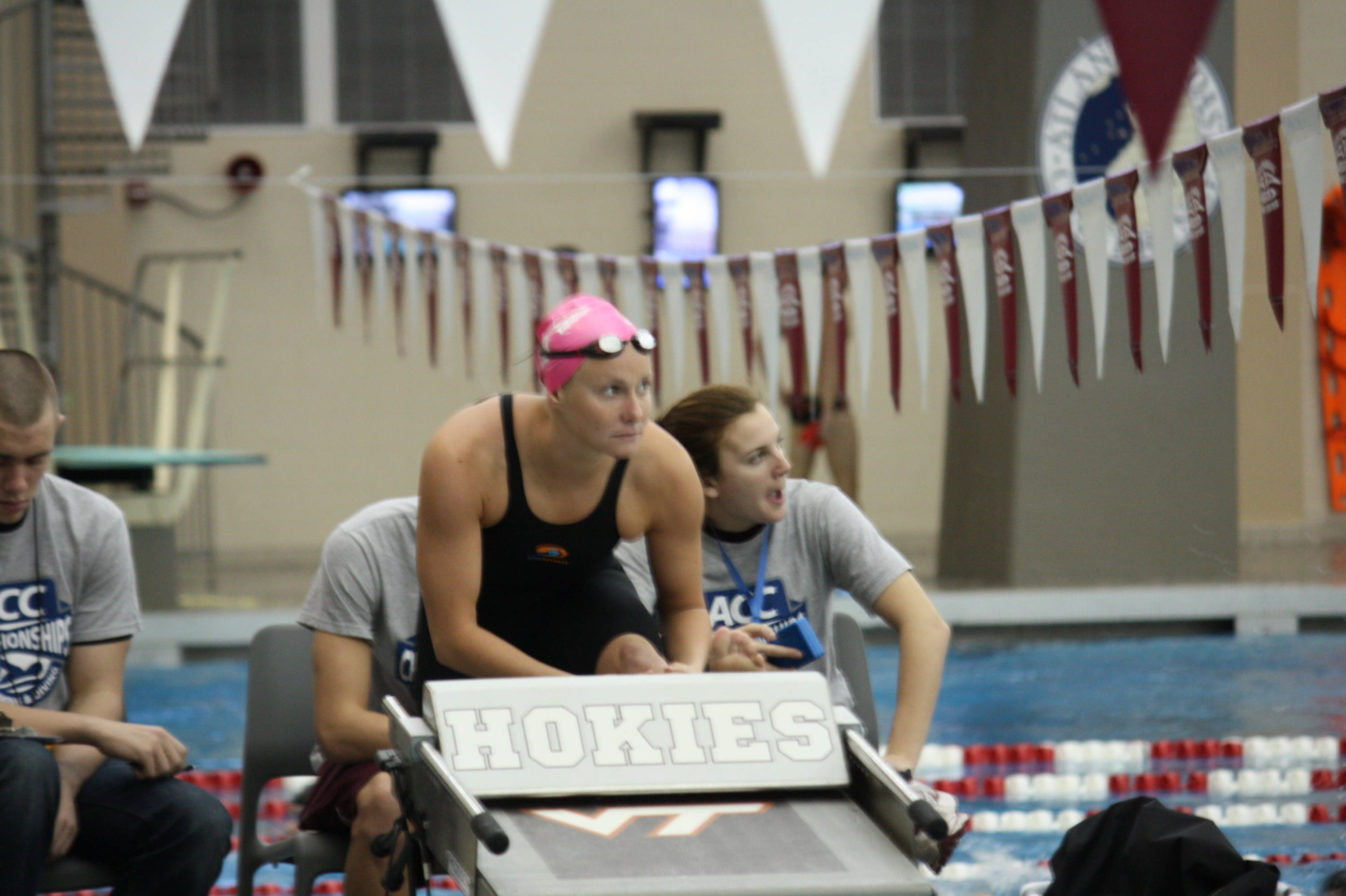 Junior Jamie Barrett gets ready for her 400 IM. She placed eighth.