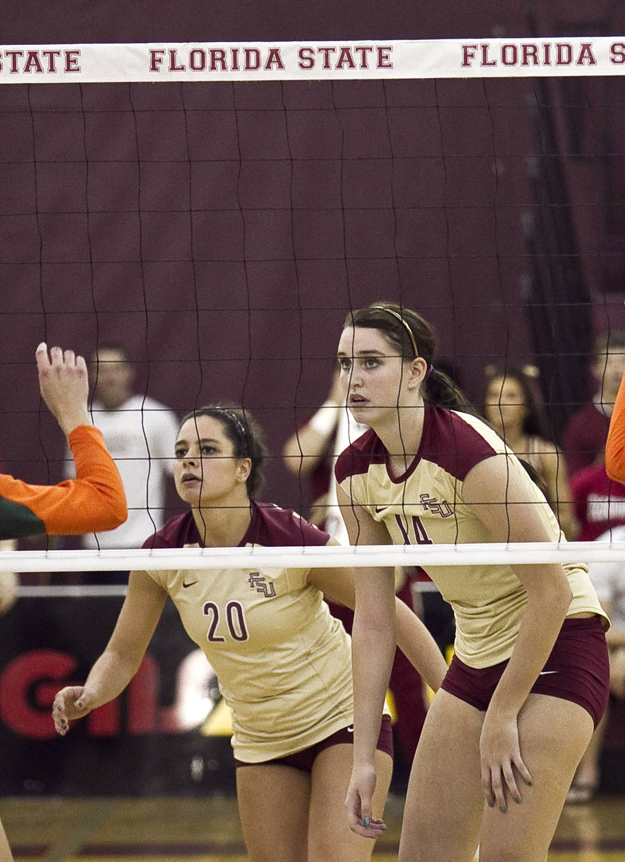 Duygu Duzceler (20) and Ashley Neff (14) FSU vs Miami 9/14/11