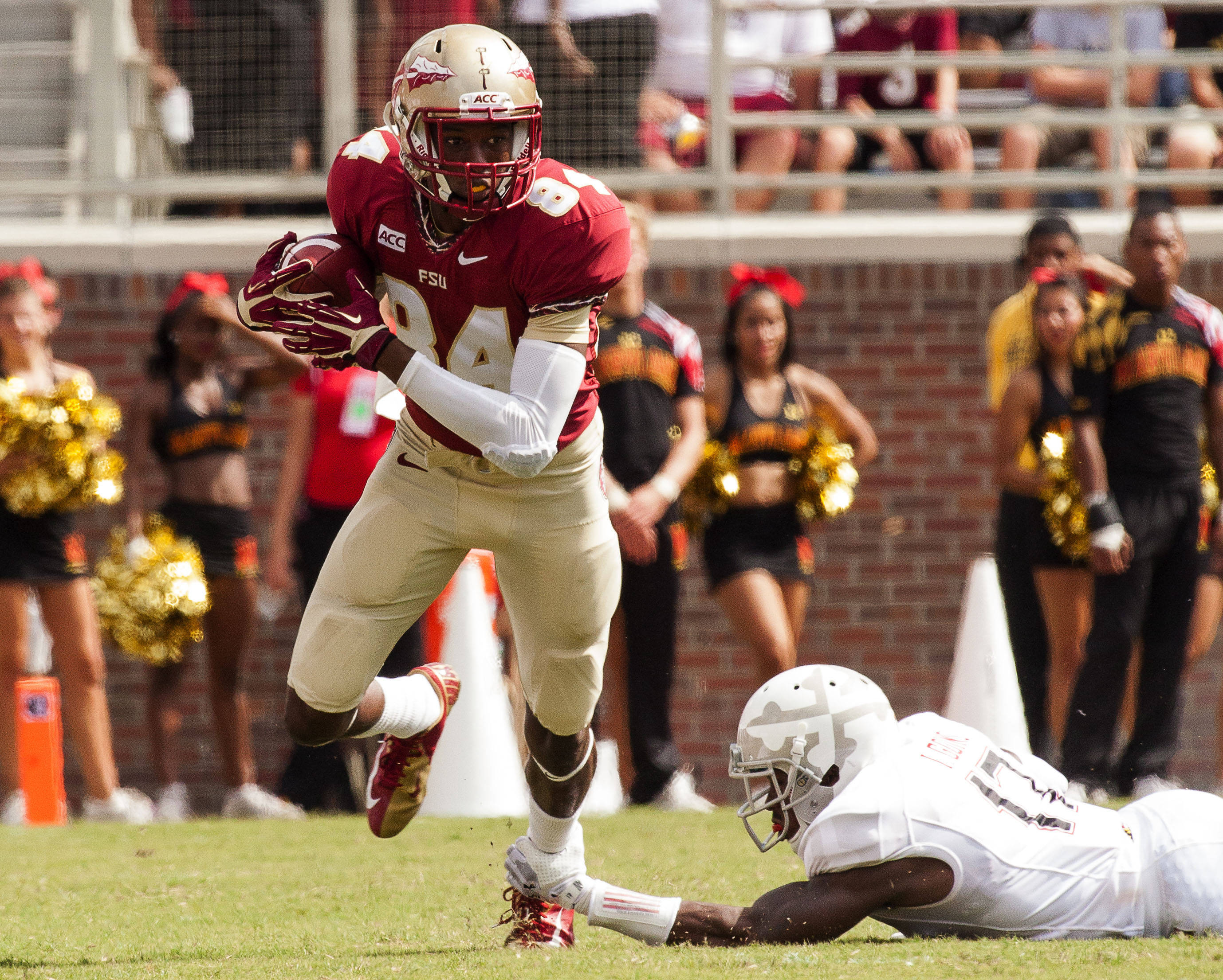 Isaiah Jones (84) runs with the ball during FSU Football's 63-0 shutout of Maryland on Saturday, October 5, 2013 in Tallahassee, Fla.