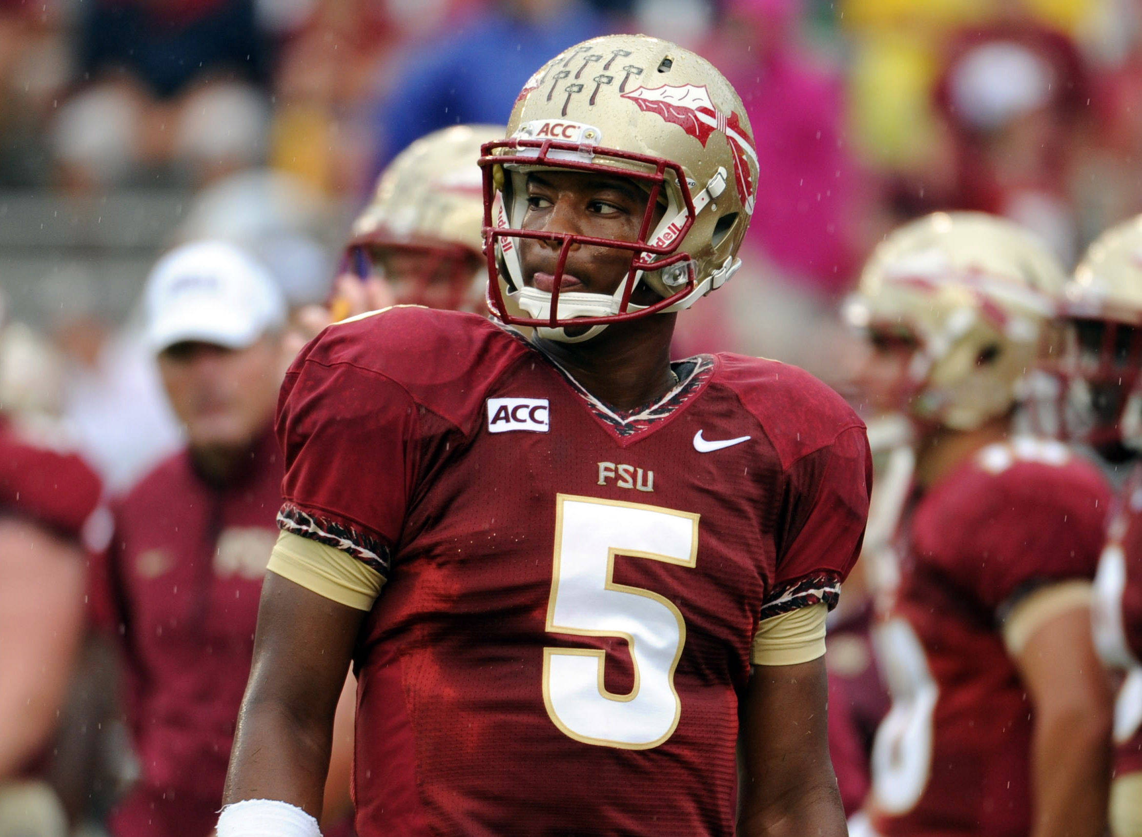 Florida State Seminoles quarterback Jameis Winston (5) before the start of the game against the Bethune-Cookman Wildcats. (Melina Vastola-USA TODAY Sports)