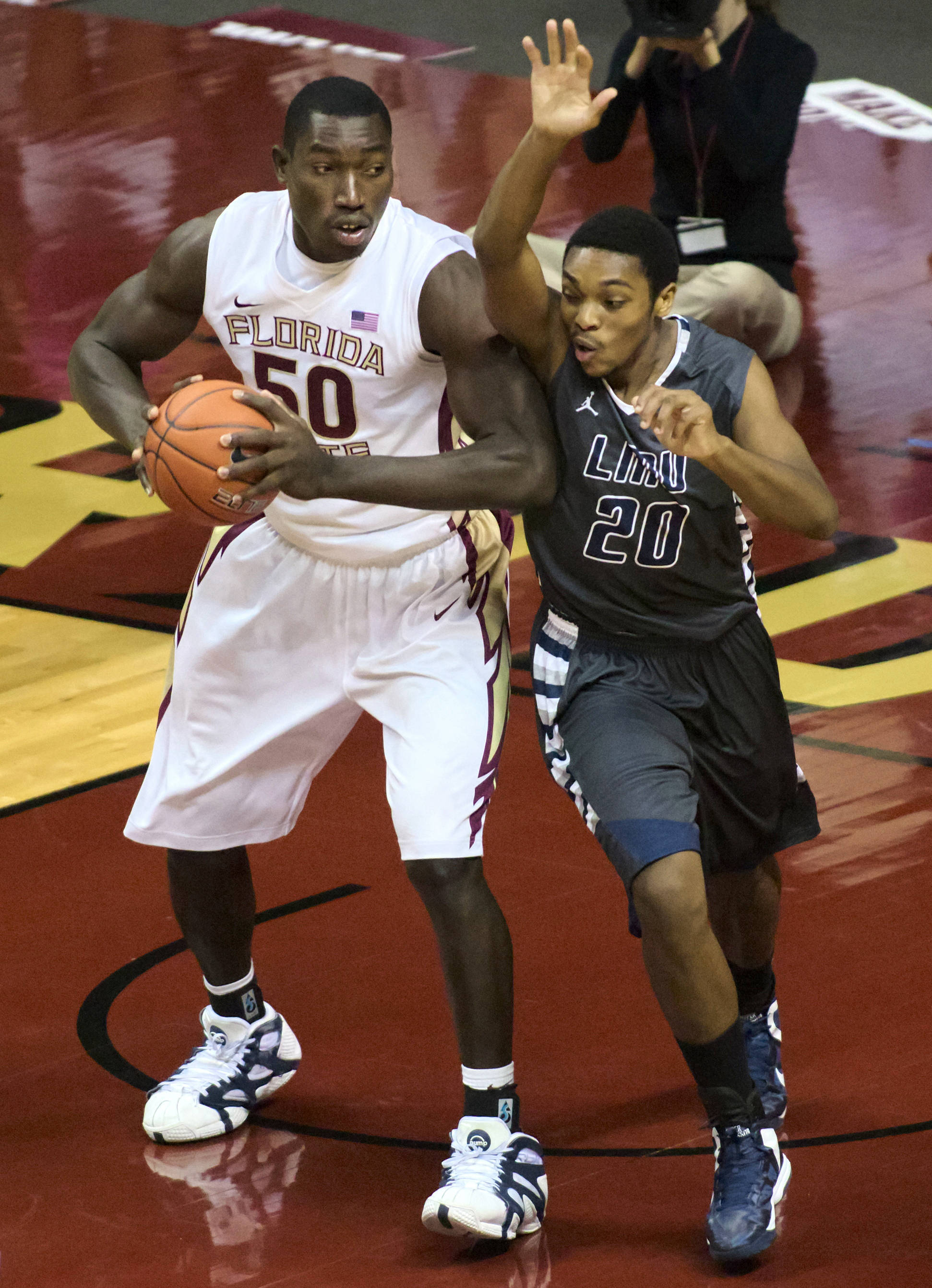 Michael Ojo (50), FSU vs Lincoln Memorial, 10/28/12. (Photo by Steve Musco)