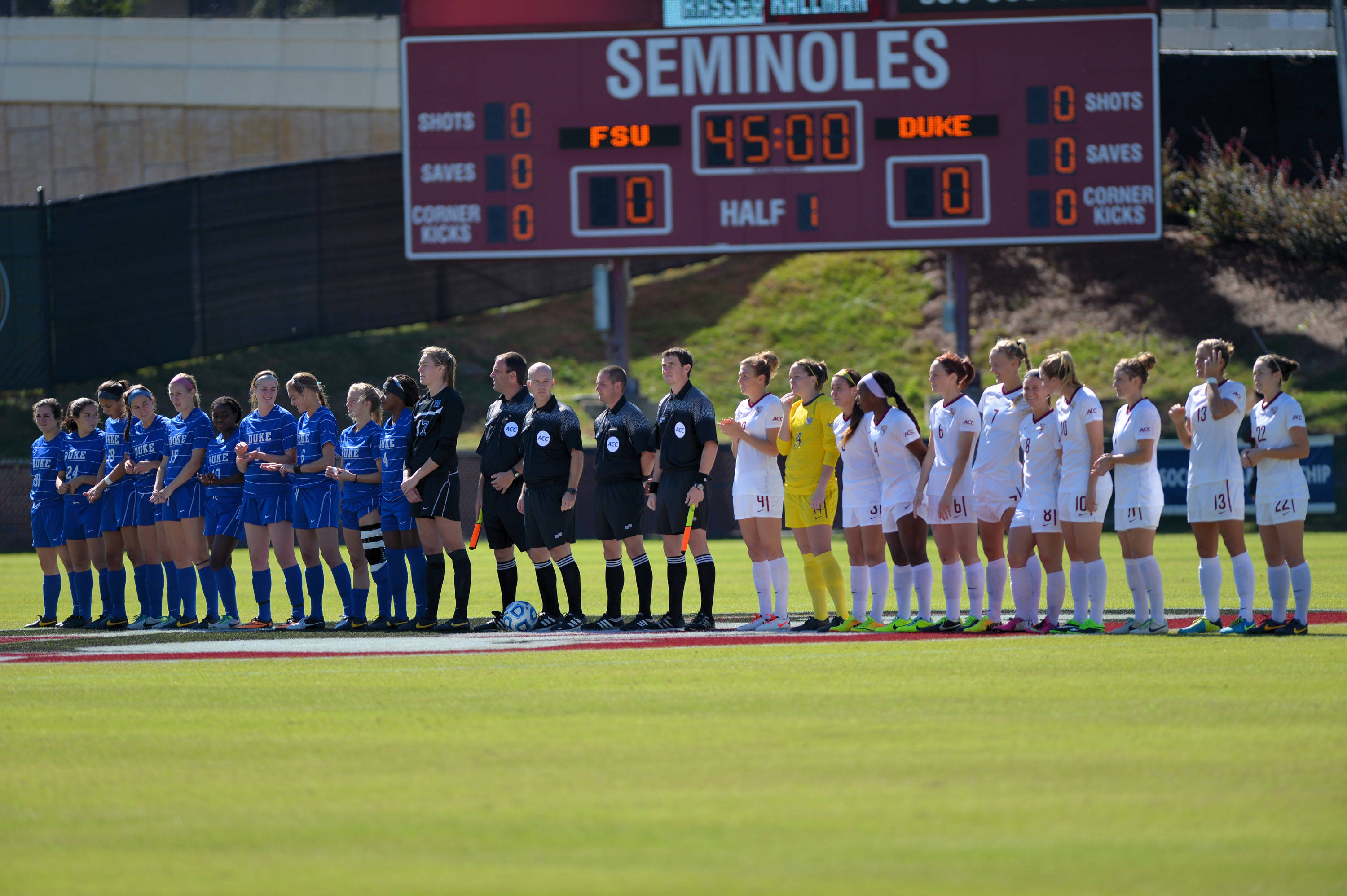 Duke and Florida State at midfield for Sunday's starting line-up of the 2013 ACC Quarterfinals.