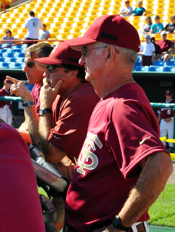 (L to R): Athletics Director Randy Spetman, assistant coach Rod Delmonico and head coach Mike Martin on hand watching FSU's batting practice.