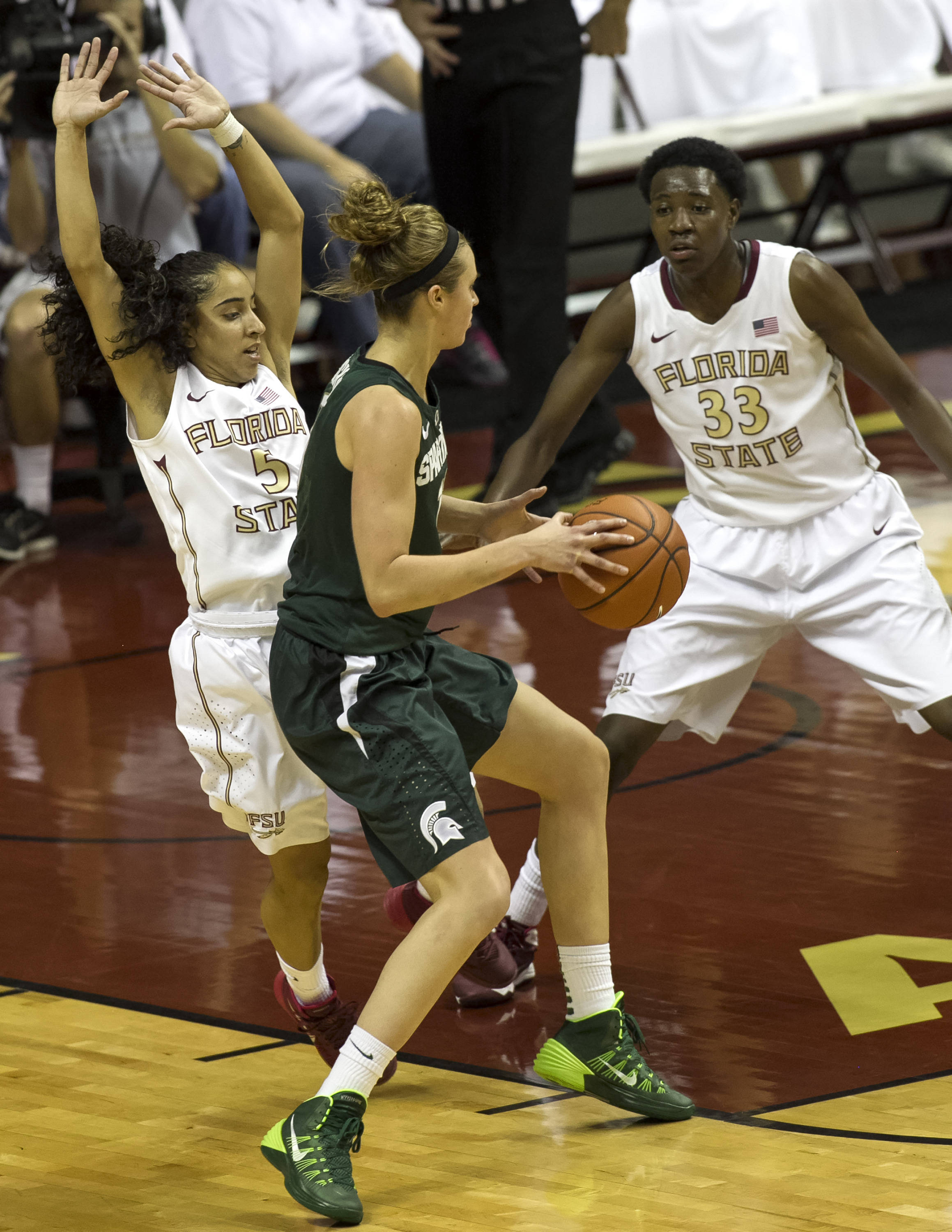 Cheetah Delgado (5), Natasha Howard (33), FSU vs Michigan State, 12-04-13,  (Photo by Steve Musco)