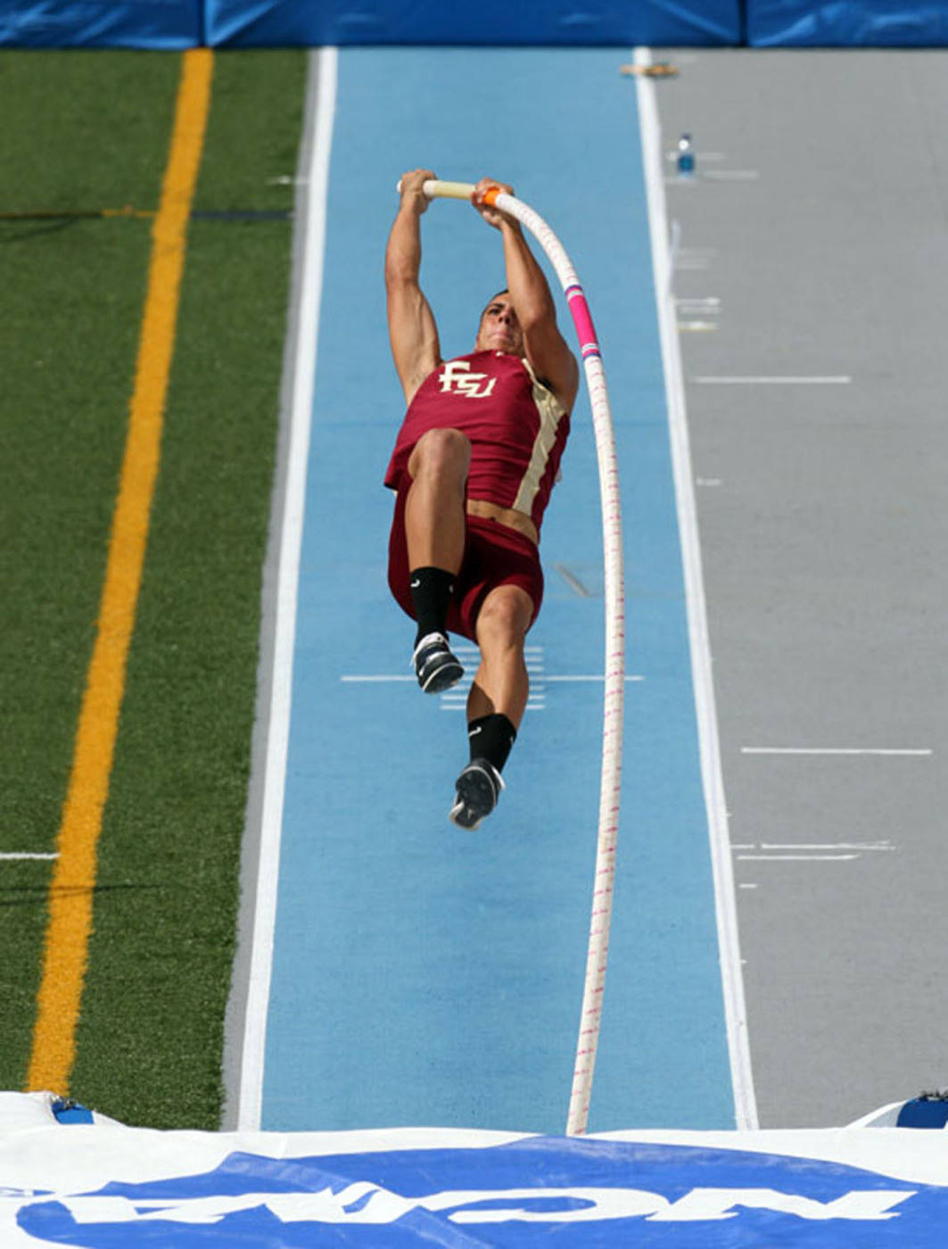 Gonzalo Barroilhet competes in the decathlon pole vault.