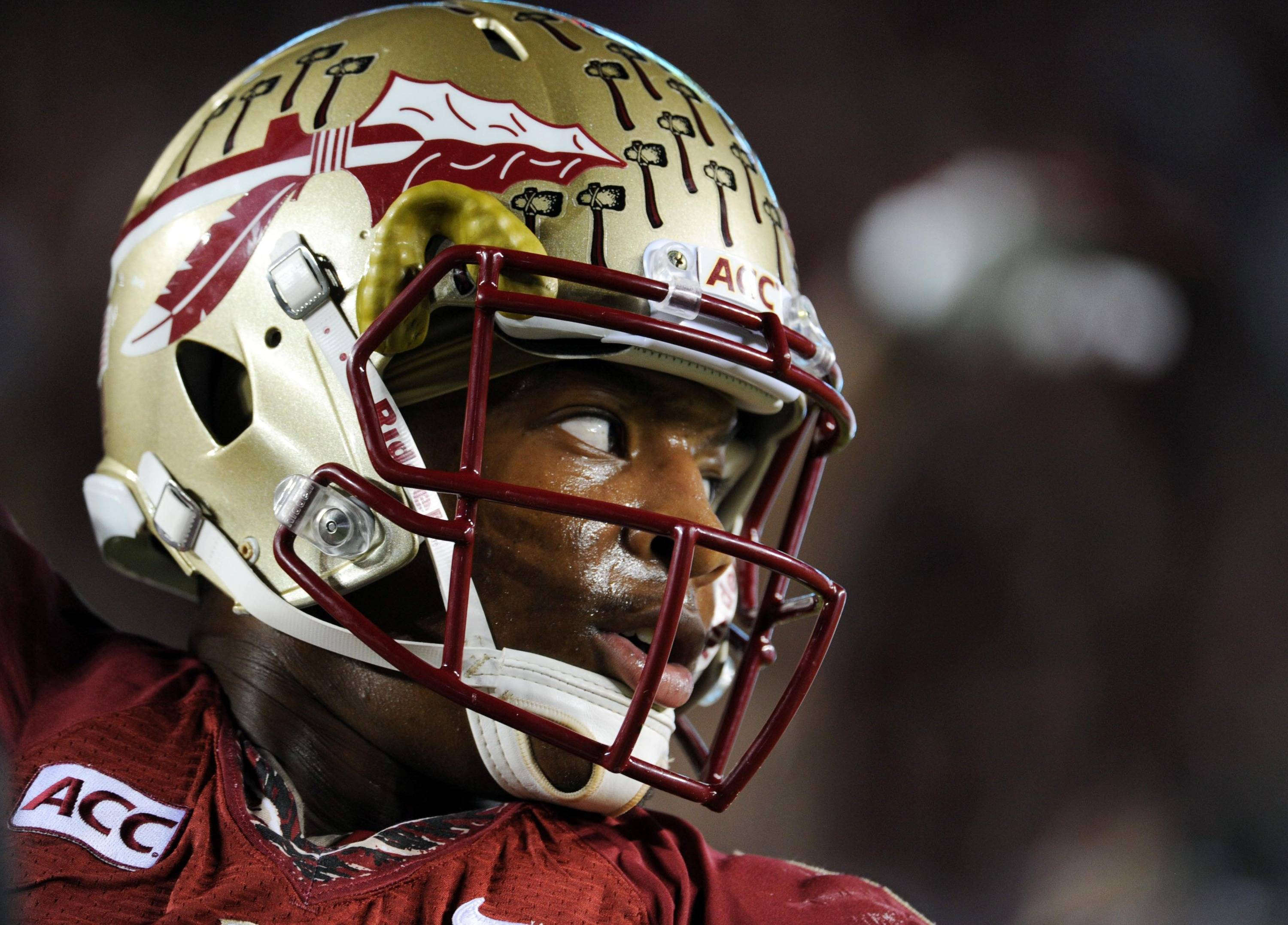 Florida State Seminoles quarterback Jameis Winston (5) before the start of the game against the Miami Hurricanes at Doak Campbell Stadium. Mandatory Credit: Melina Vastola-USA TODAY Sports