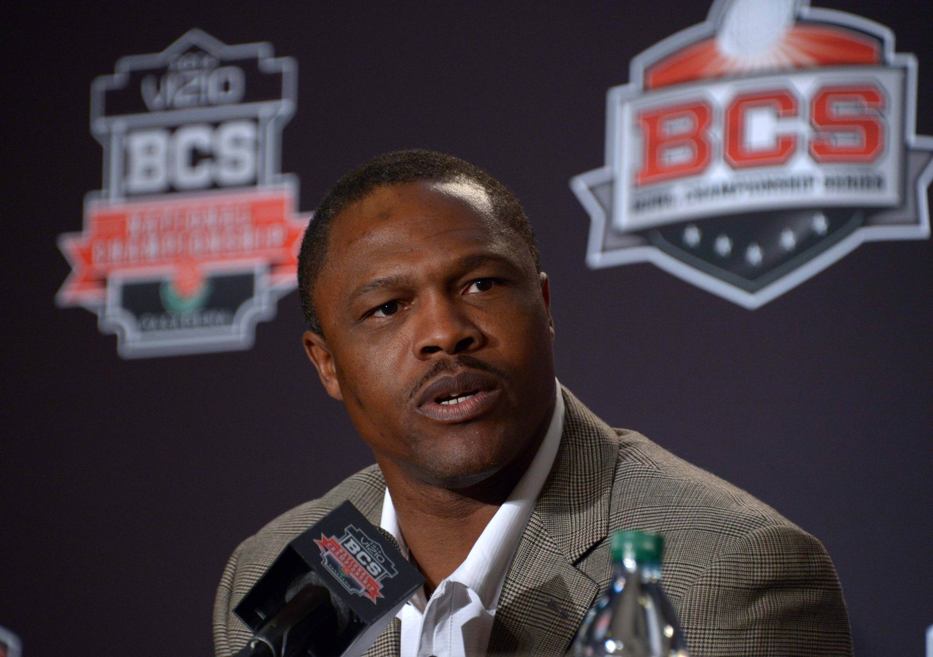 Florida State Seminoles receivers coach Lawrence Dawsey at a 2014 BCS National Championship press conference at Newport Beach Marriott. Mandatory Credit: Kirby Lee-USA TODAY Sports