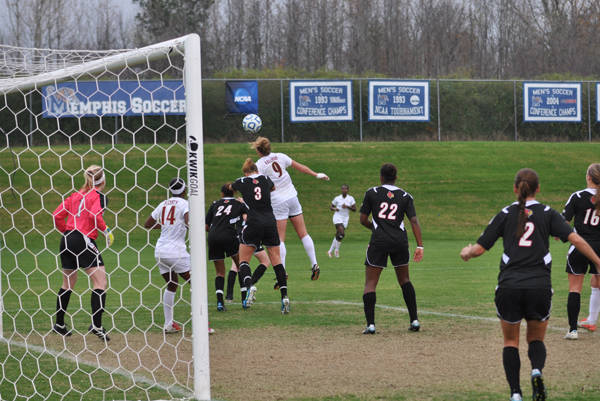 Kassey Kallman head's in the eventual game-winner off a throw-in from Jessica Price.