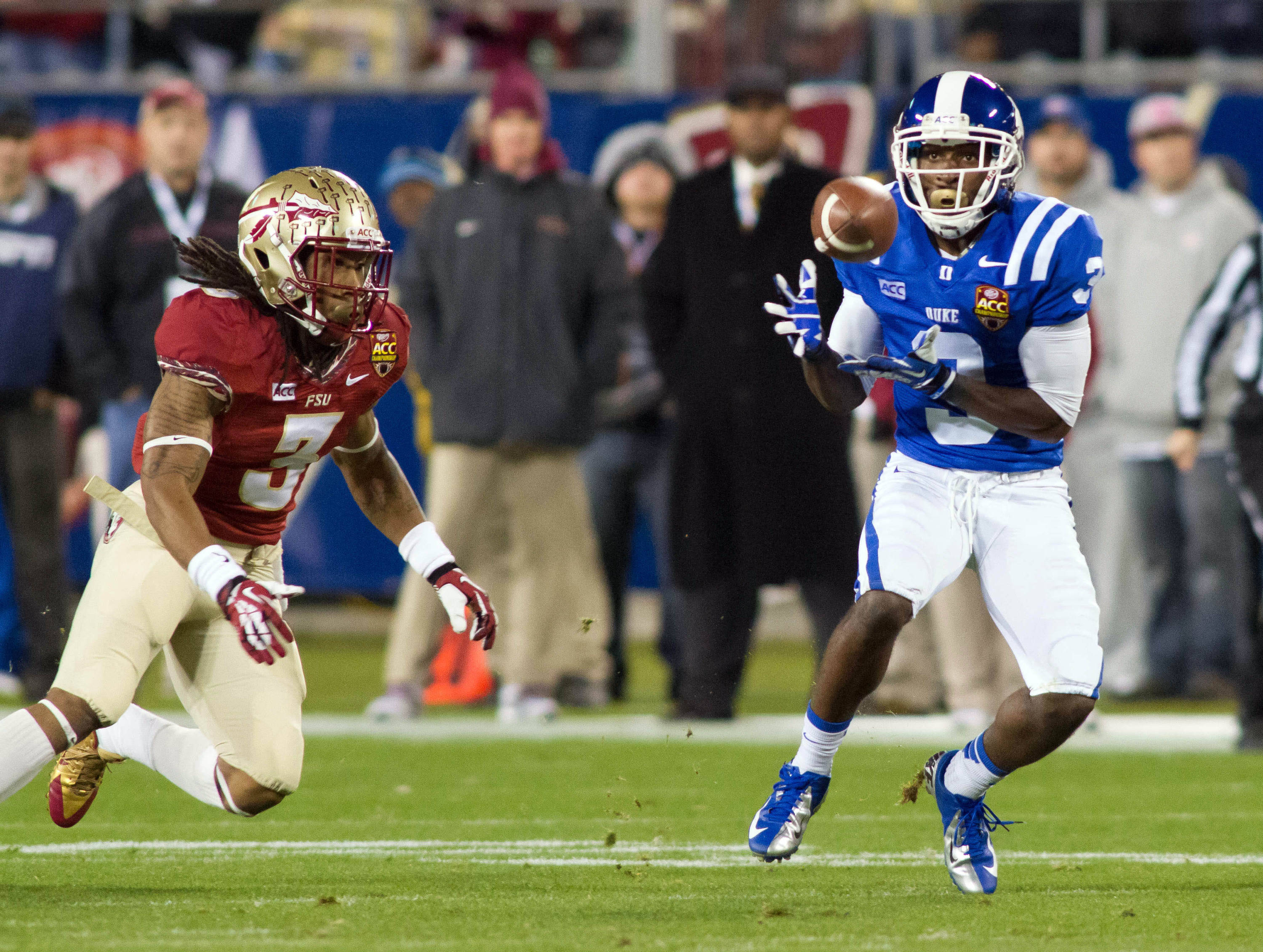 Dec 7, 2013; Charlotte, NC, USA; Duke Blue Devils wide receiver Jamison Crowder (3) catches a pass during the first quarter against the Florida State Seminoles at Bank of America Stadium. Mandatory Credit: Jeremy Brevard-USA TODAY Sports