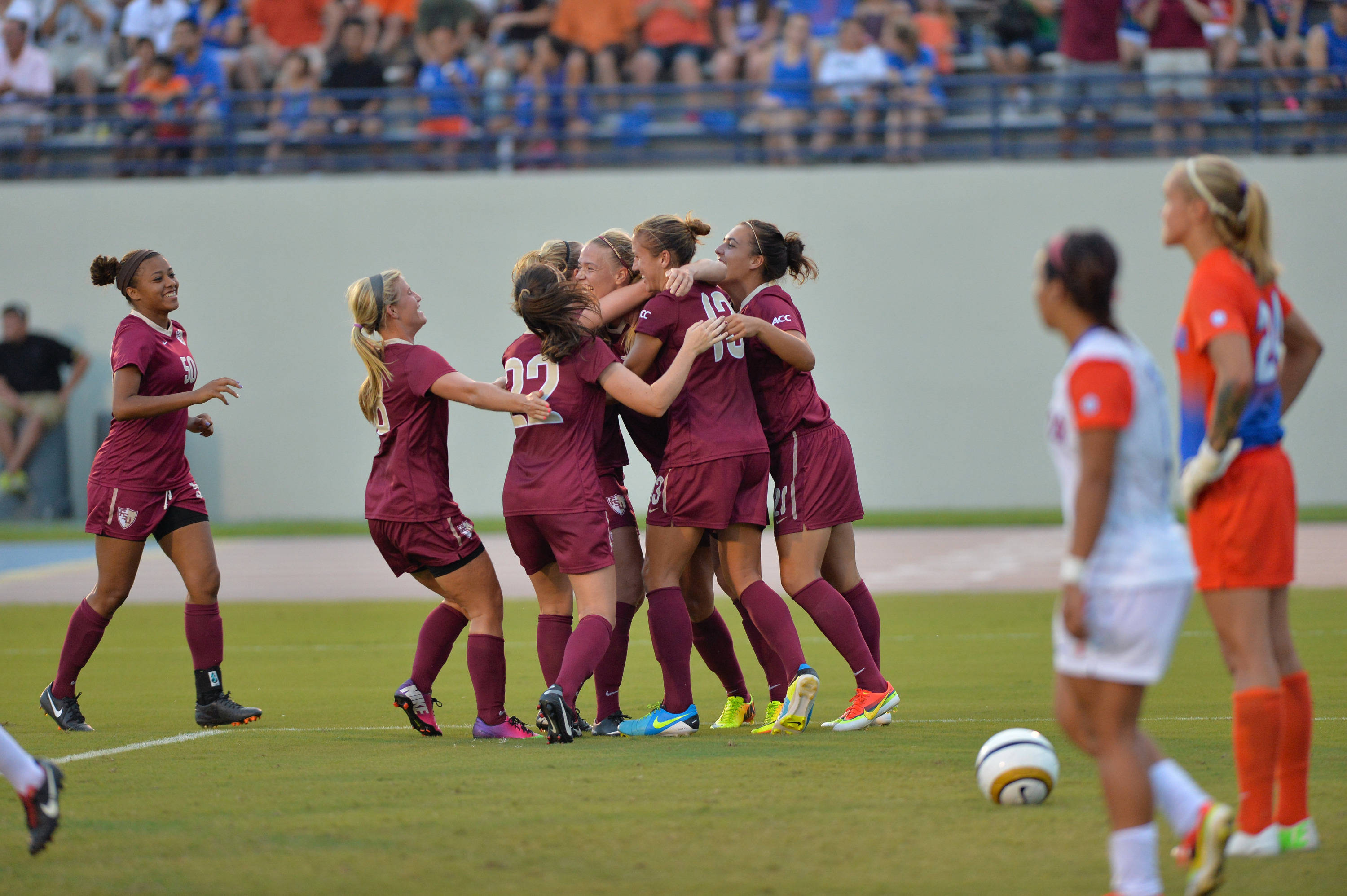 The Seminoles celebrate their second goal of the half on Friday night