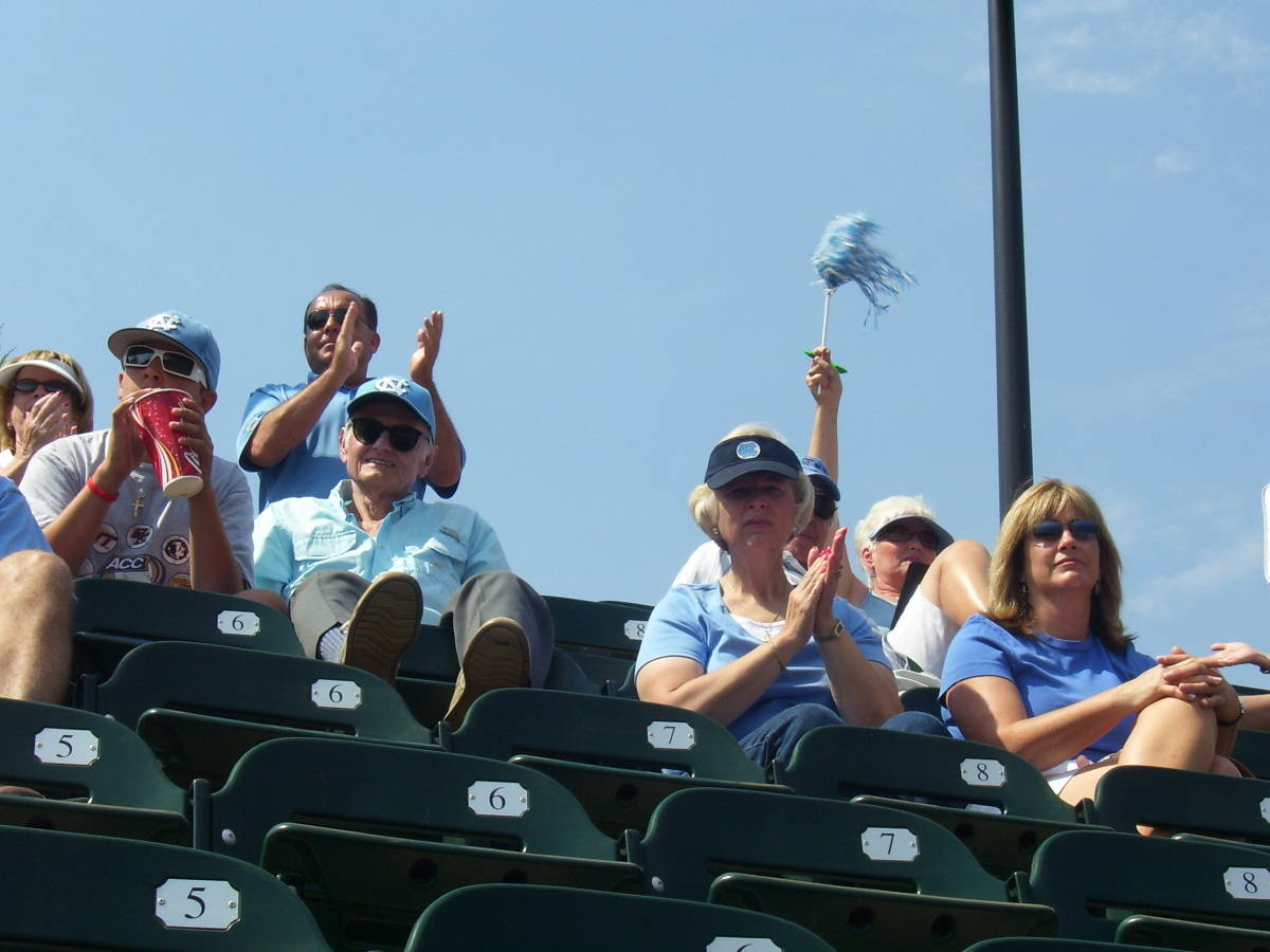 Tar Heel fans cheering for their team.