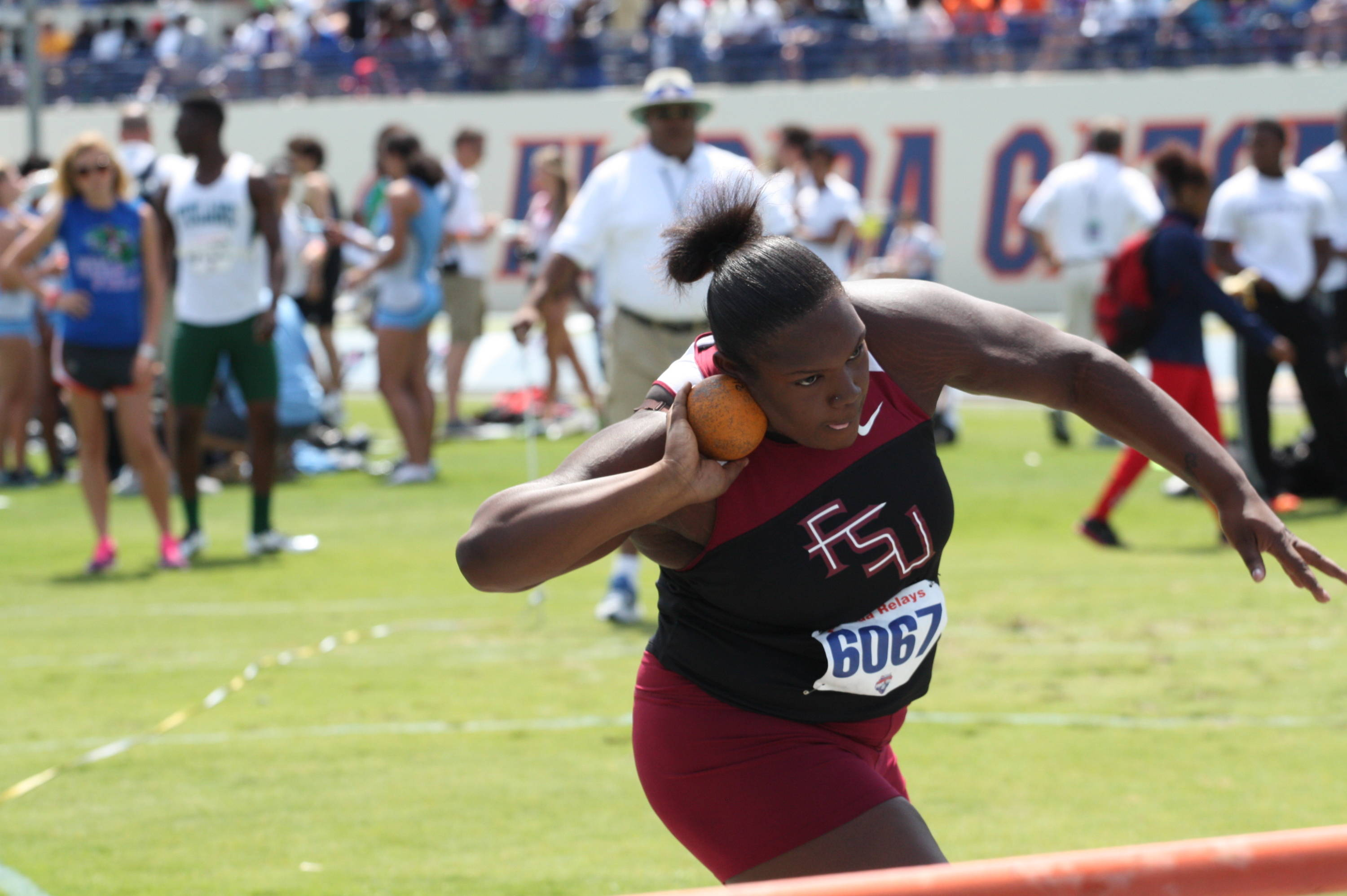 Lakitta Johnson prepares to let a shot put attempt fly during the 2012 Florida Relays.