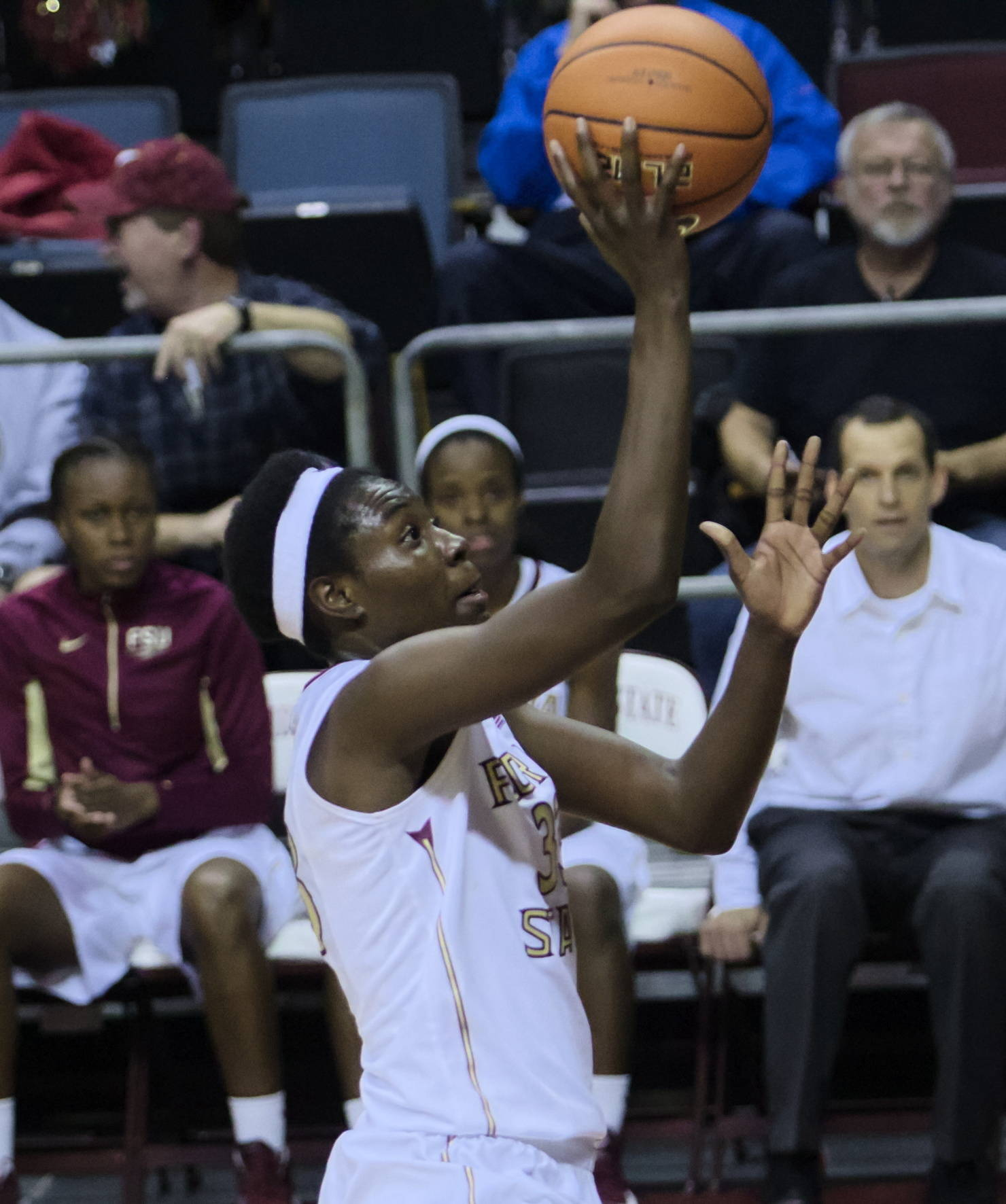 Natasha Howard (33), FSU vs Iowa, 11/28/12. (Photo by Steve Musco)
