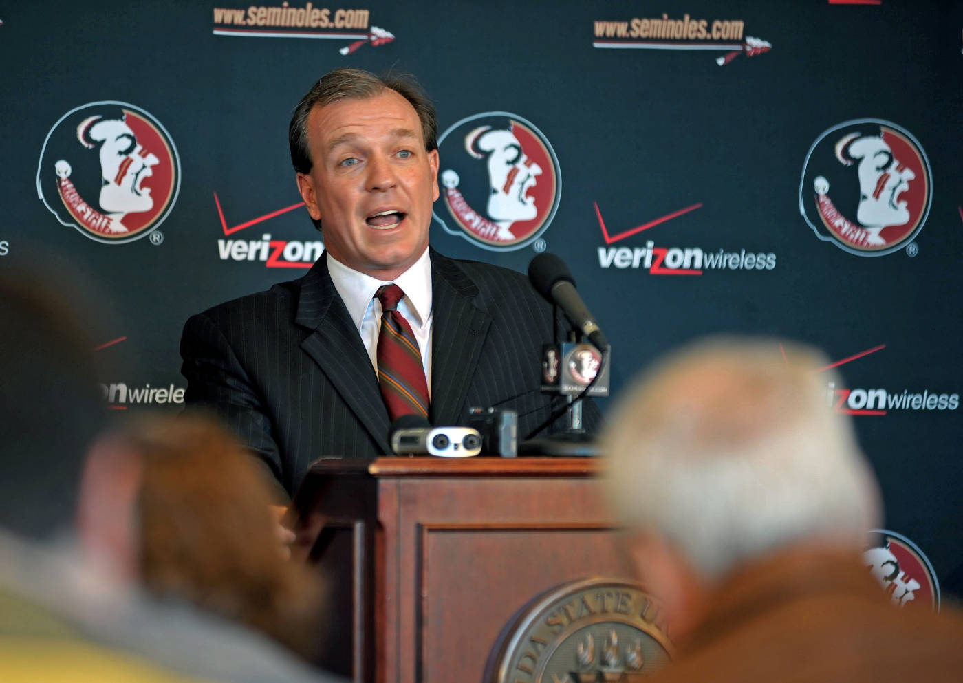 Jimbo Fisher takes questions from the media