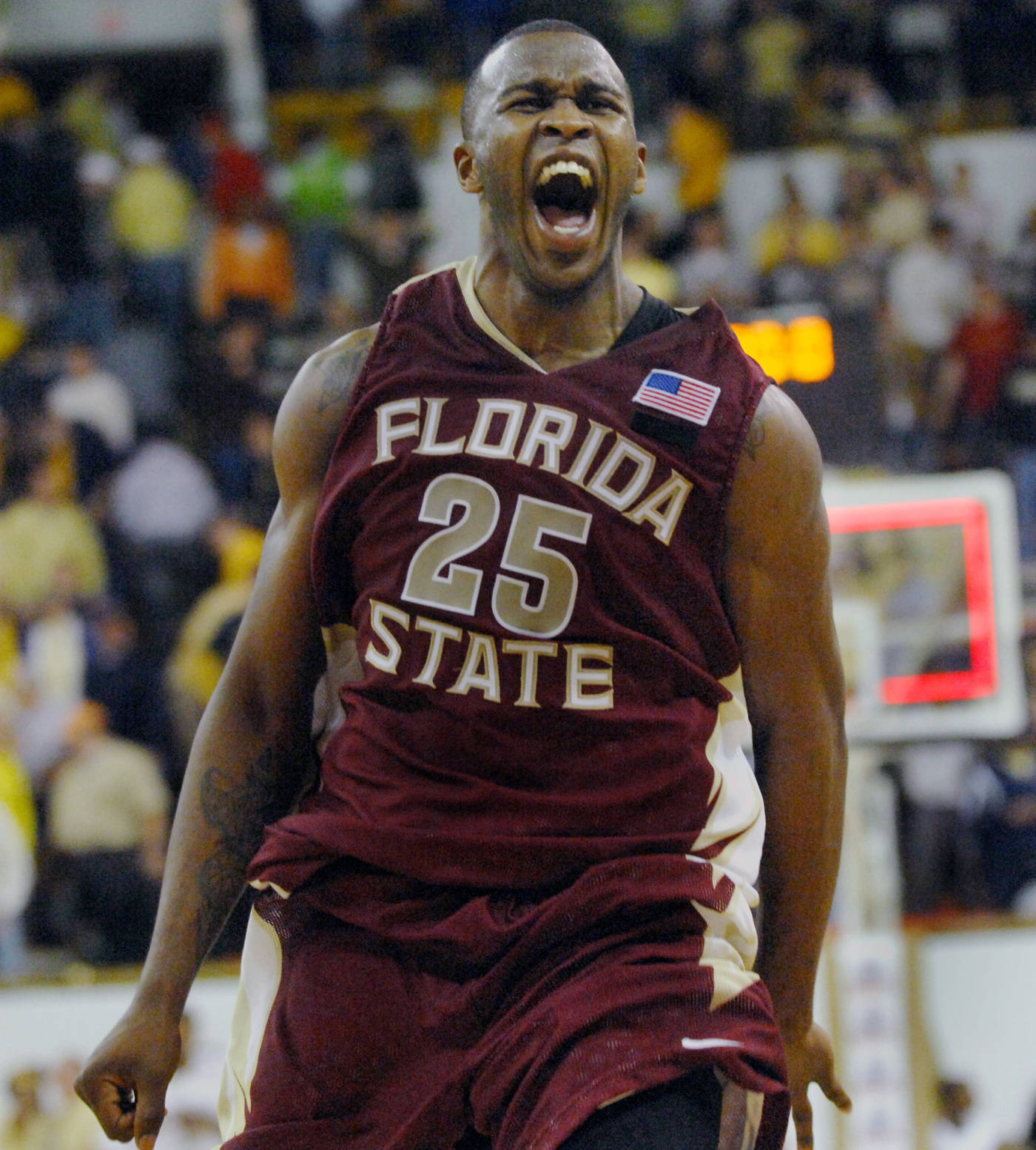 Florida State guard Jason Rich celebrates his team's 64-66 win against Georgia Tech at the end of the second half.