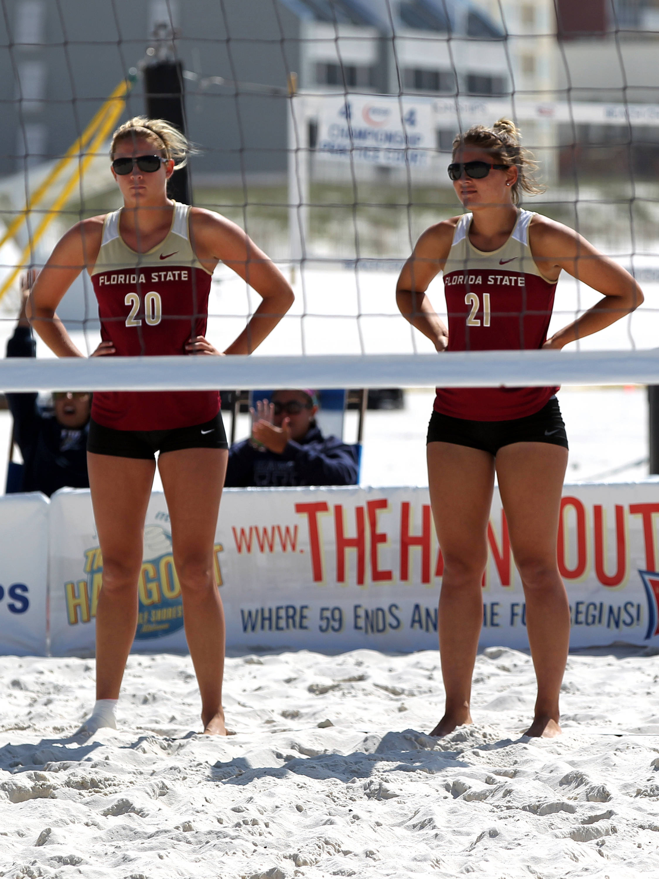 FSU's newest All-Americans, Sarah Wickstrom (20) and Jace Pardon (21), AVCA Collegiate Sand Volleyball National  Championships - Pairs,  Gulf Shores, Alabama, 05/05/13 . (Photo by Steve Musco)
