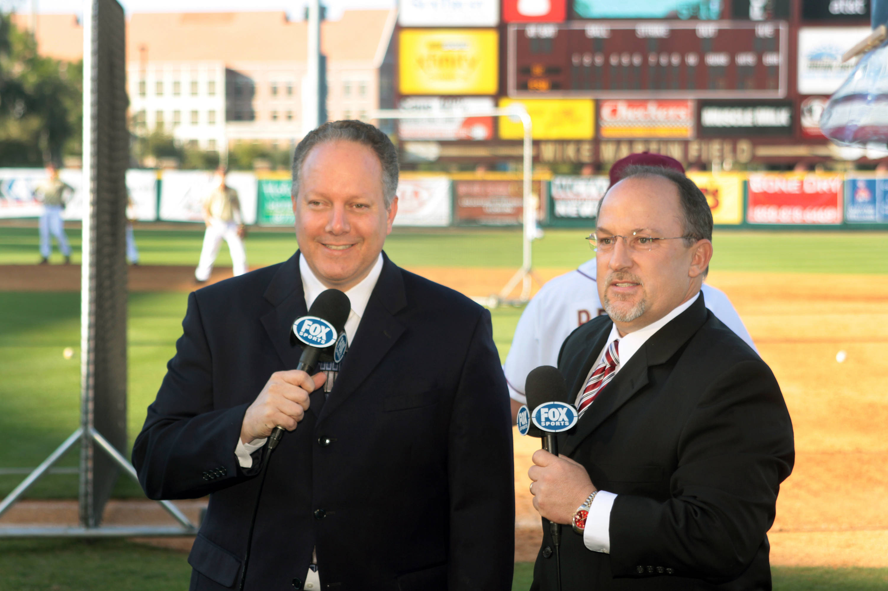 Chip Baker (right) made his TV debut, complete with make-up, and an assist from Tom Block.