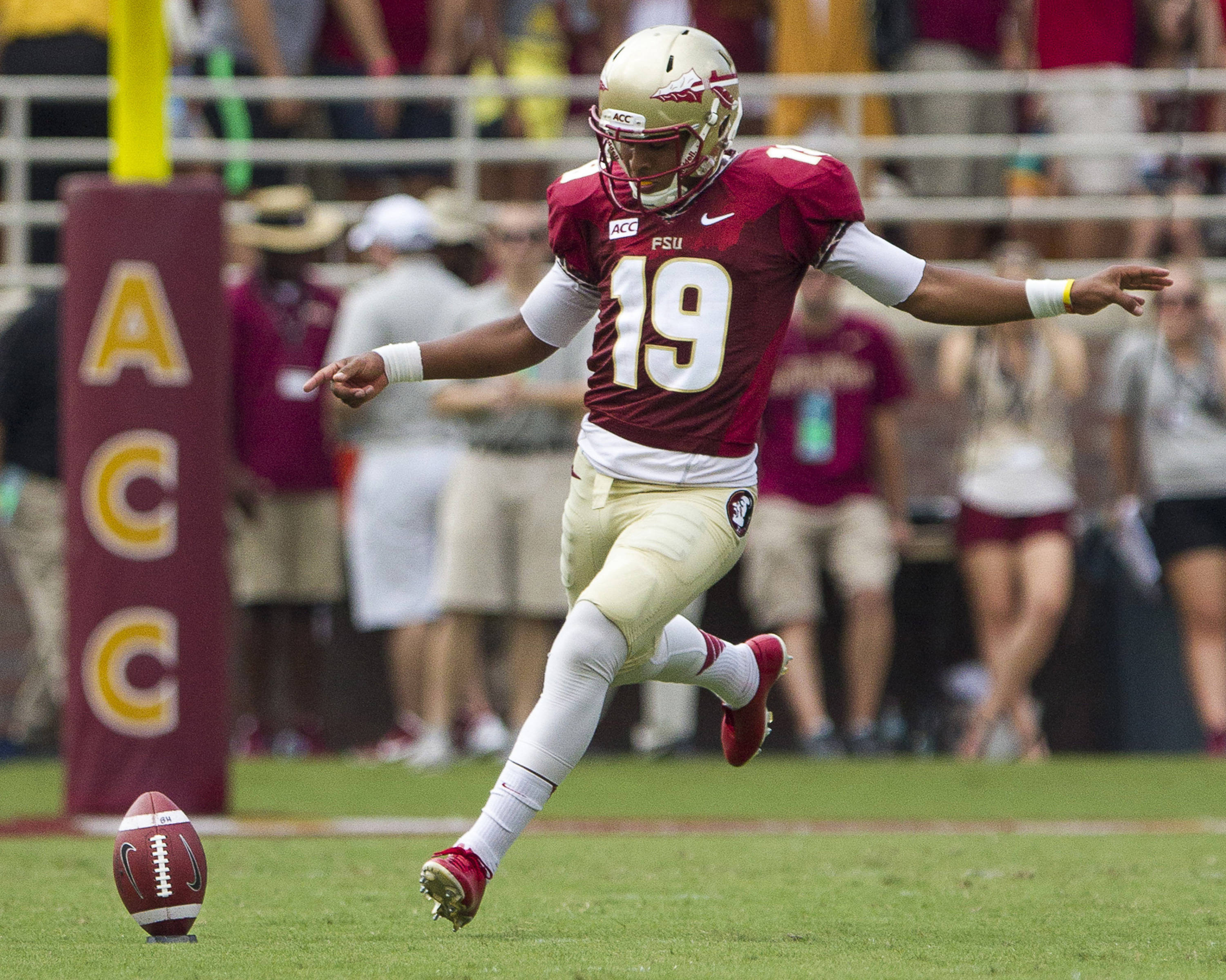 Roberto Aguayo (19) kicks off during FSU's 62-7 win over Nevada on Saturday, Sept 14, 2013 in Tallahassee, Fla.