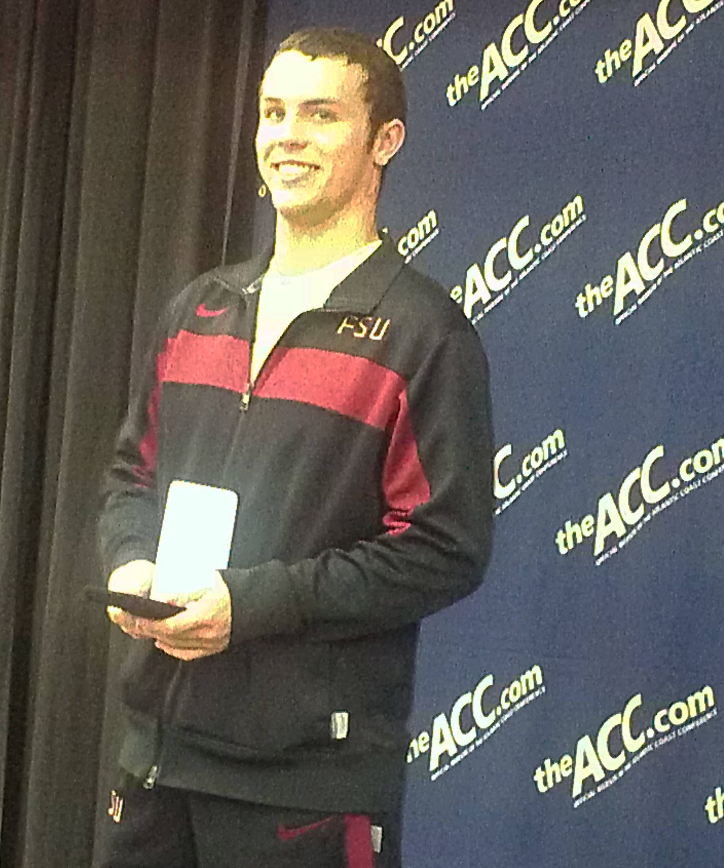 Freshman Ford McLiney gives a silver medal performance on the men's three-meter springboard