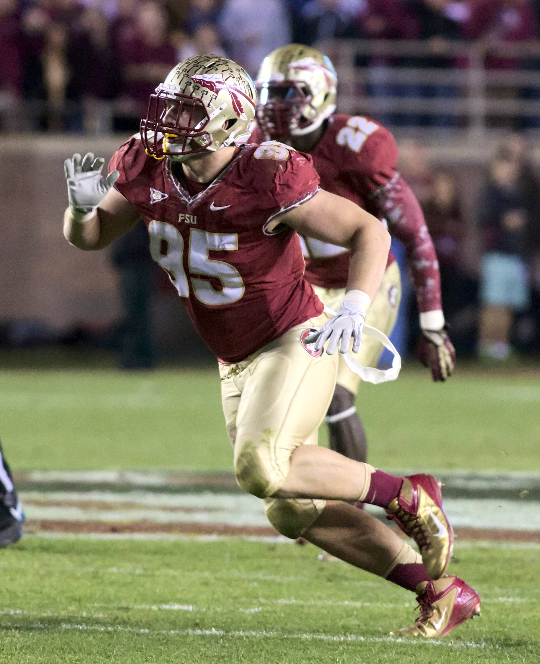 Bjoern Werner (95), FSU vs Florida, 11/24/12. (Photo by Steve Musco)