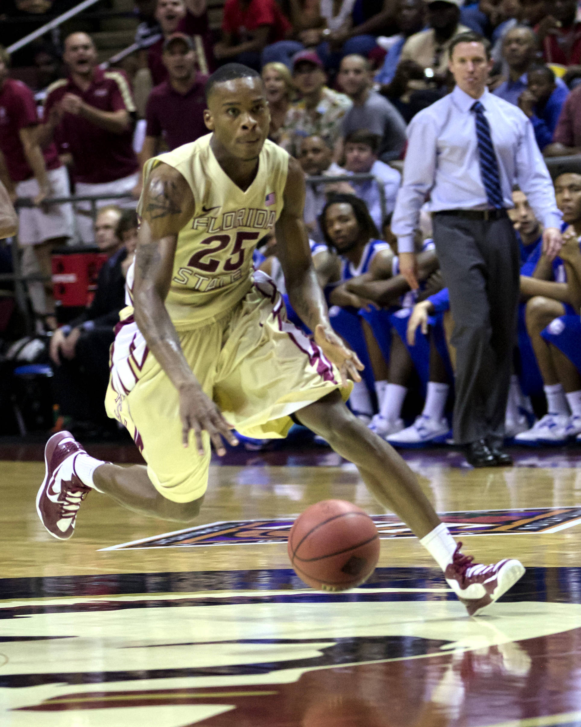 Aaron Thomas (25), NIT First Round, FSU vs Louisiana Tech, 03/19/13 . (Photo by Steve Musco)