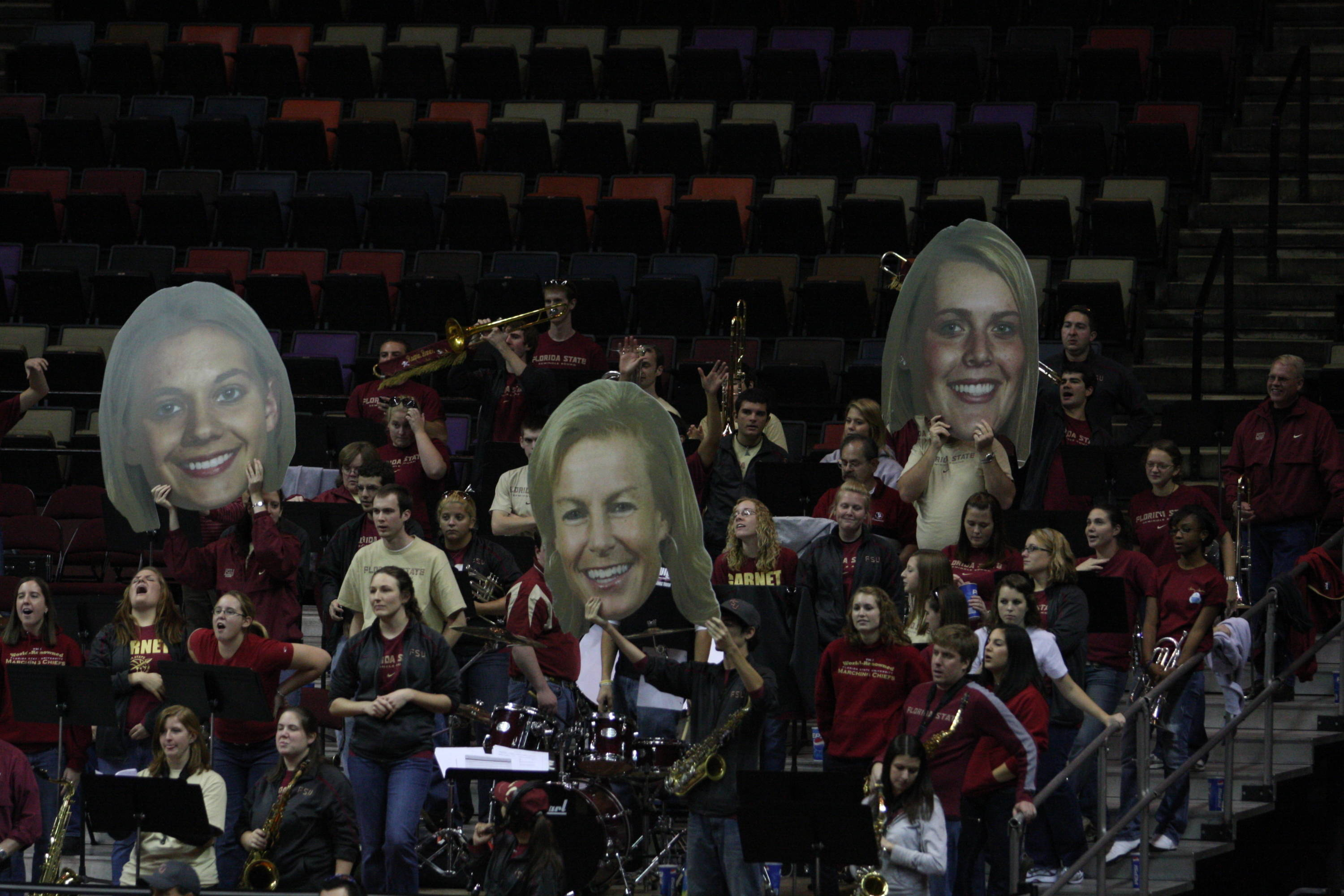 August 16 ... Women's basketball games are a lot of fun at the Donald L. Tucker Center. Here, Seminole Sound is seen showing their support for Alexa Deluzio, head coach Sue Semrau and Cierra Bravard with some really cool cutouts.