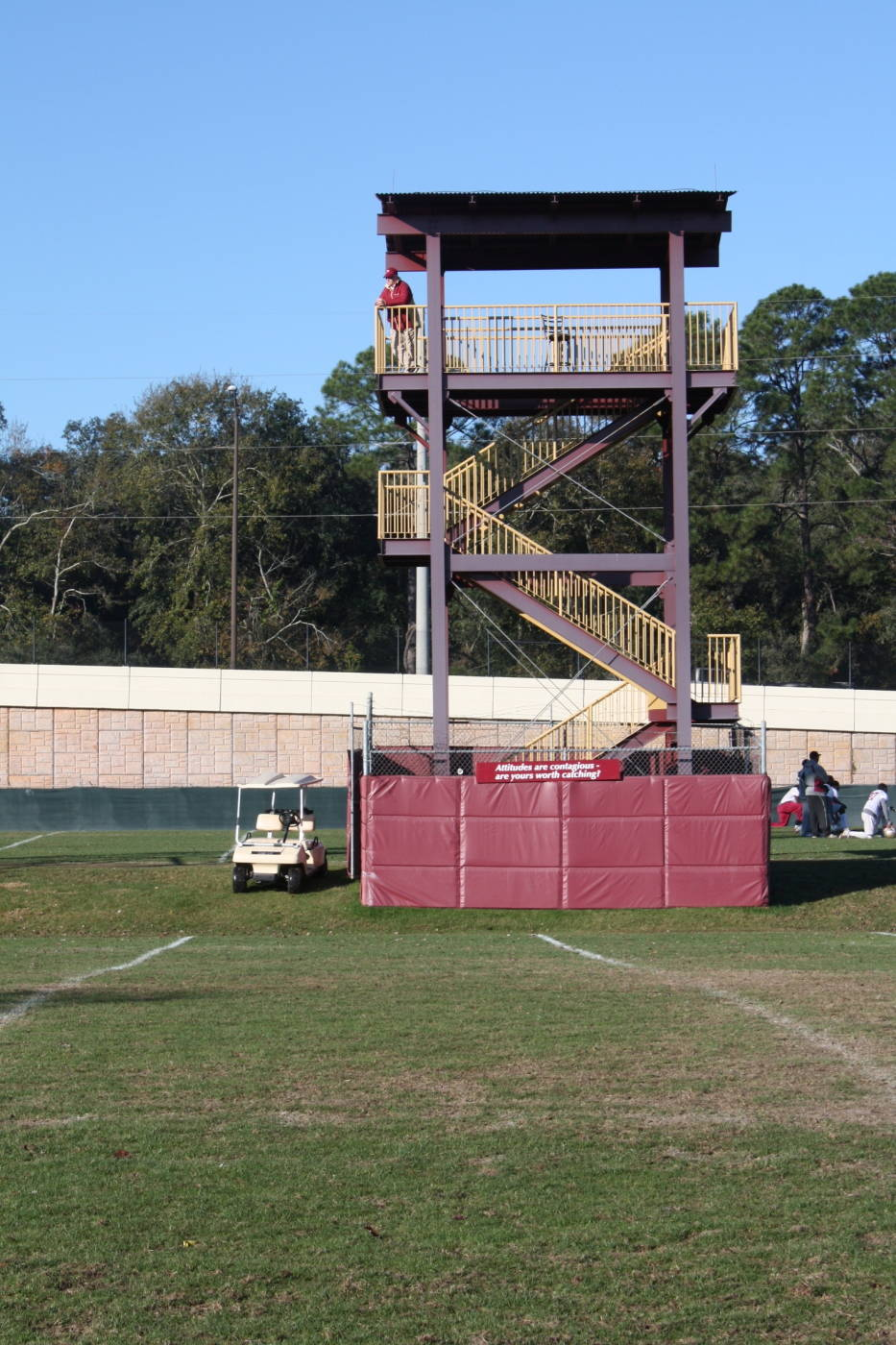 Coach Bowden up in his tower overlooking the practice fields