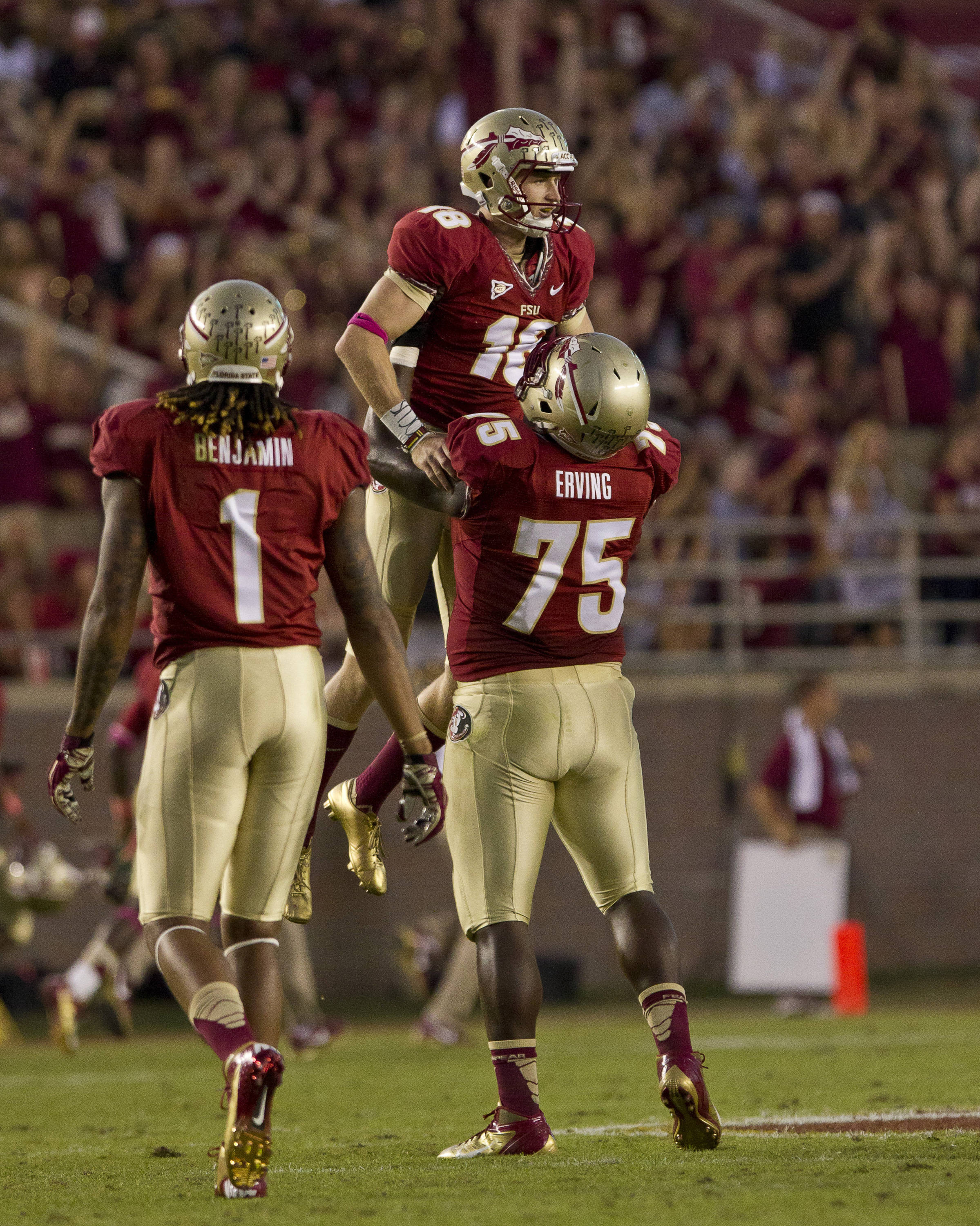 Dustin Hopkins (18) celebrates during the FSU vs Boston College football game on October 13, 2012 in Tallahassee, Fla.