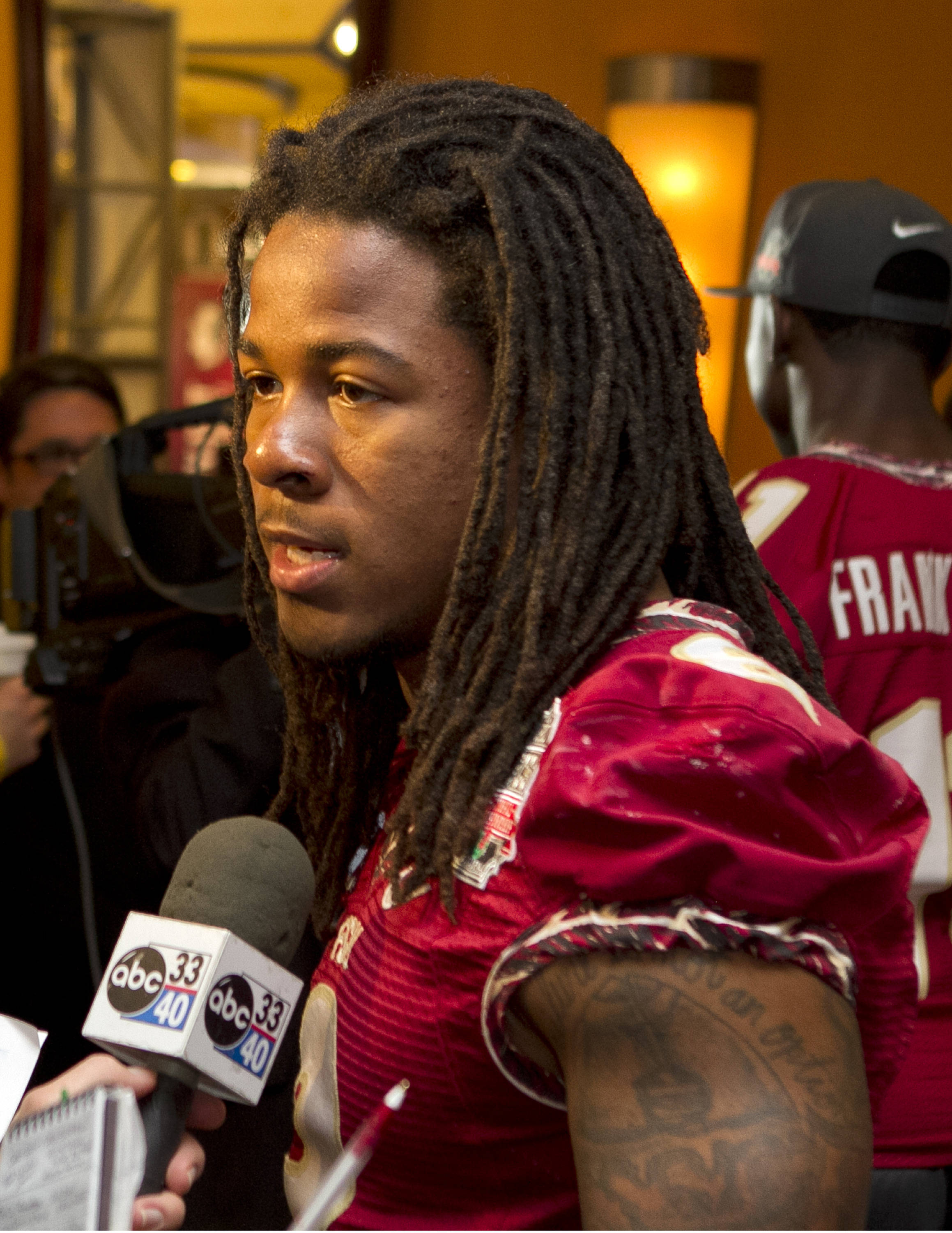 Devonta Freeman (8), FSU at BCS Championship Media Day,  1-04-14,  (Photo by Steve Musco)