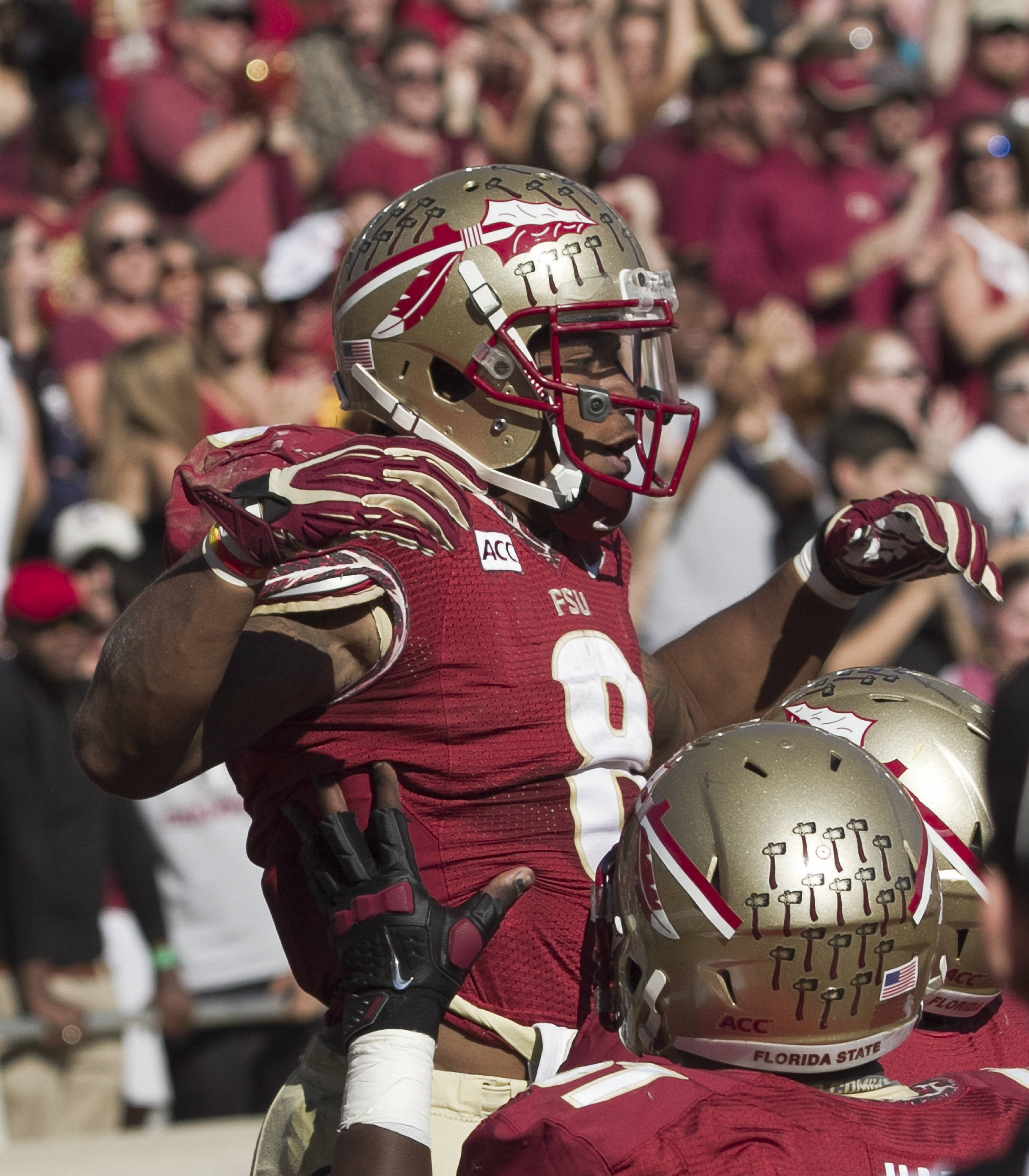 Devonta Freeman (8) after his touchdown, FSU vs NC State,  10-26-13, (Photo by Steve Musco)