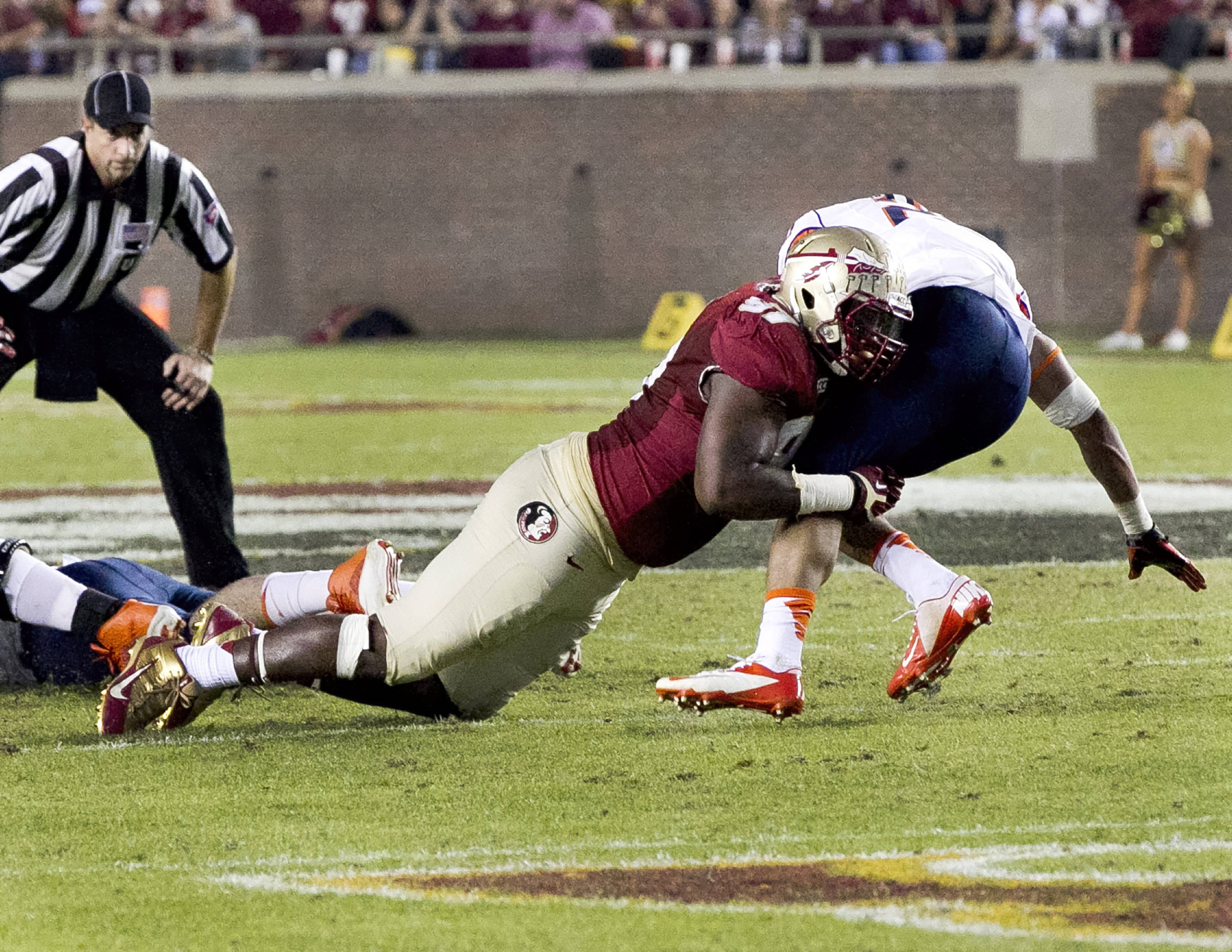Demonte McAllister (97), FSU vs Syracuse, 11-16-13, (Photo by Steve Musco)